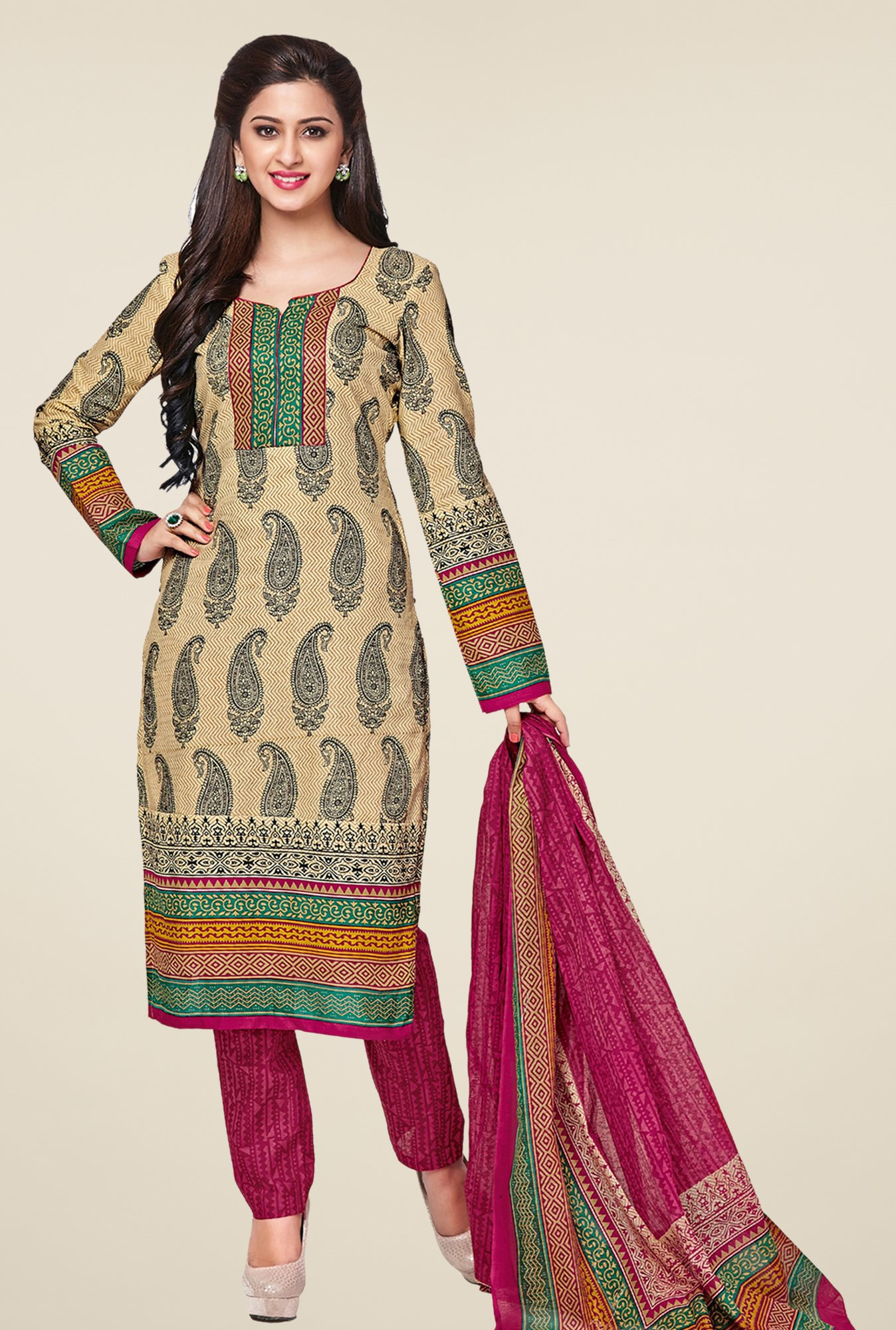 Salwar Studio Beige & Pink Printed Cotton Dress Material
