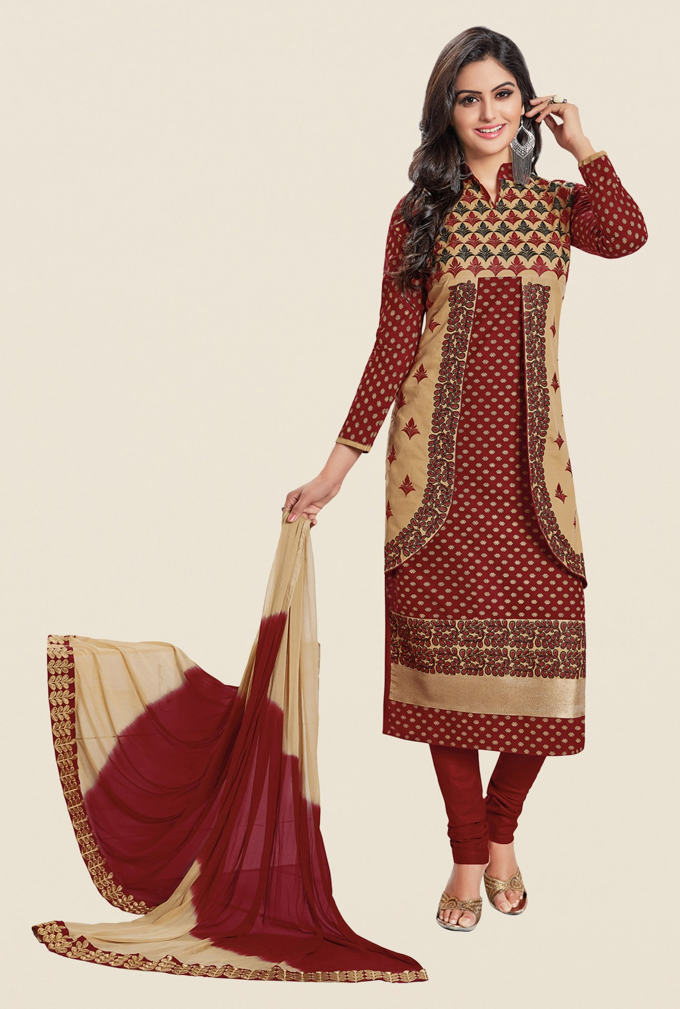 Salwar Studio Brown & Beige Embroidered Dress Material