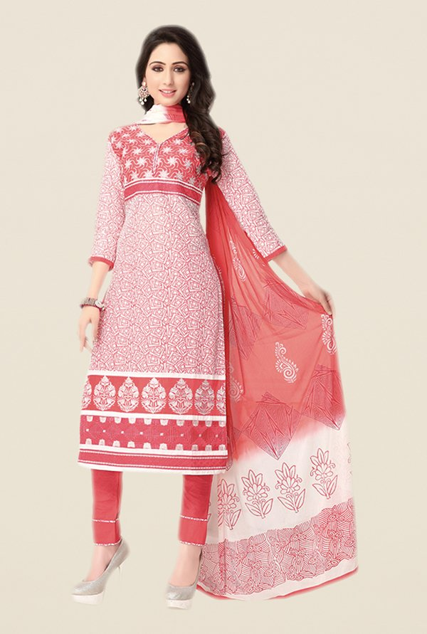 Salwar Studio Coral & White Embroidered Dress Material