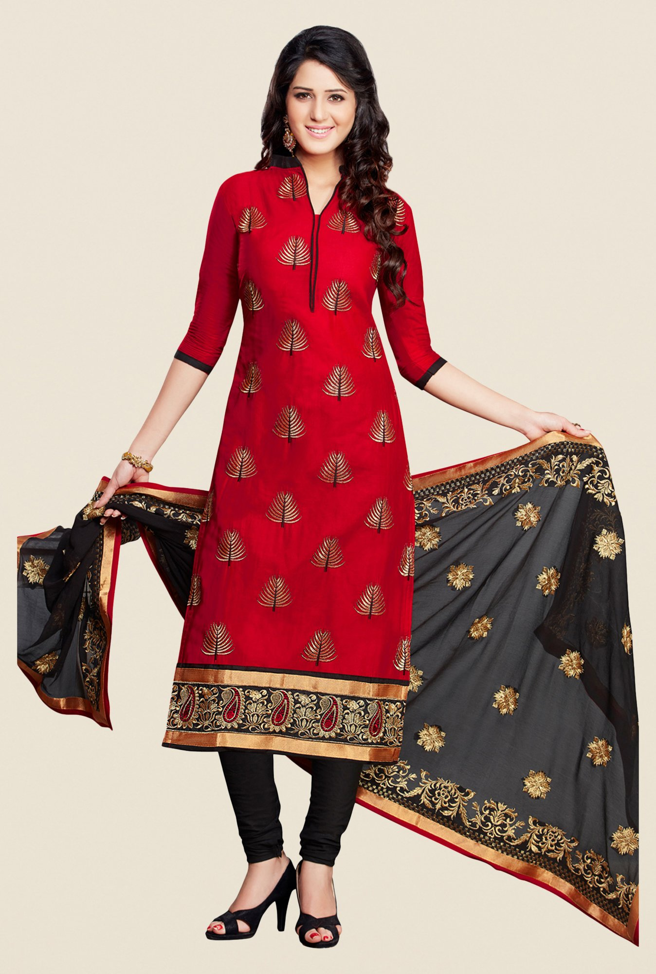 Salwar Studio Red & Black Embroidered Cotton Dress Material