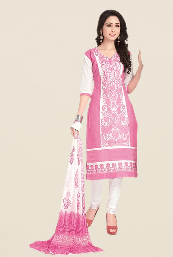 Salwar Studio Light Pink & White Embroidered Dress Material