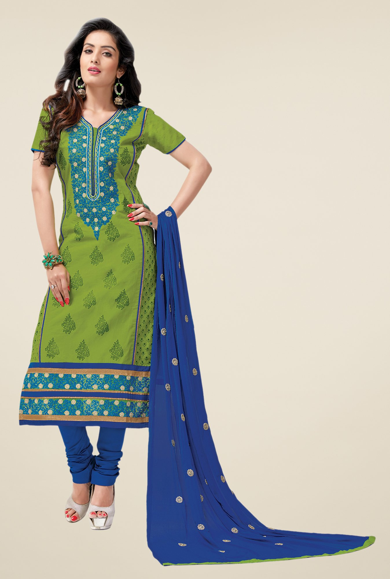 Salwar Studio Sea Green & Blue Lawn Dress Material
