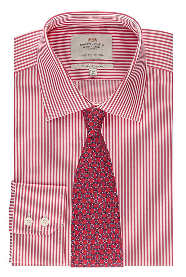 Hawes & Curties Red & White St James SC Bengal Striped Shirt