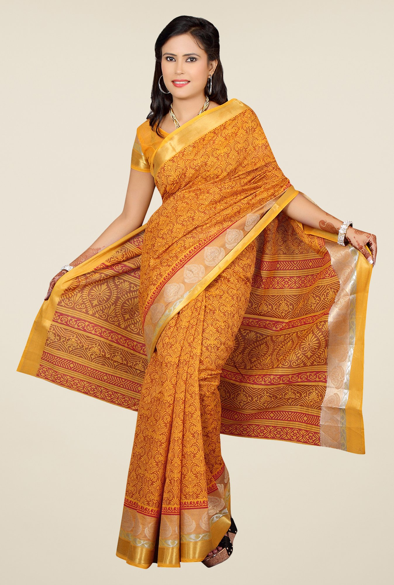 Salwar Studio Dark Yellow Floral Print Saree