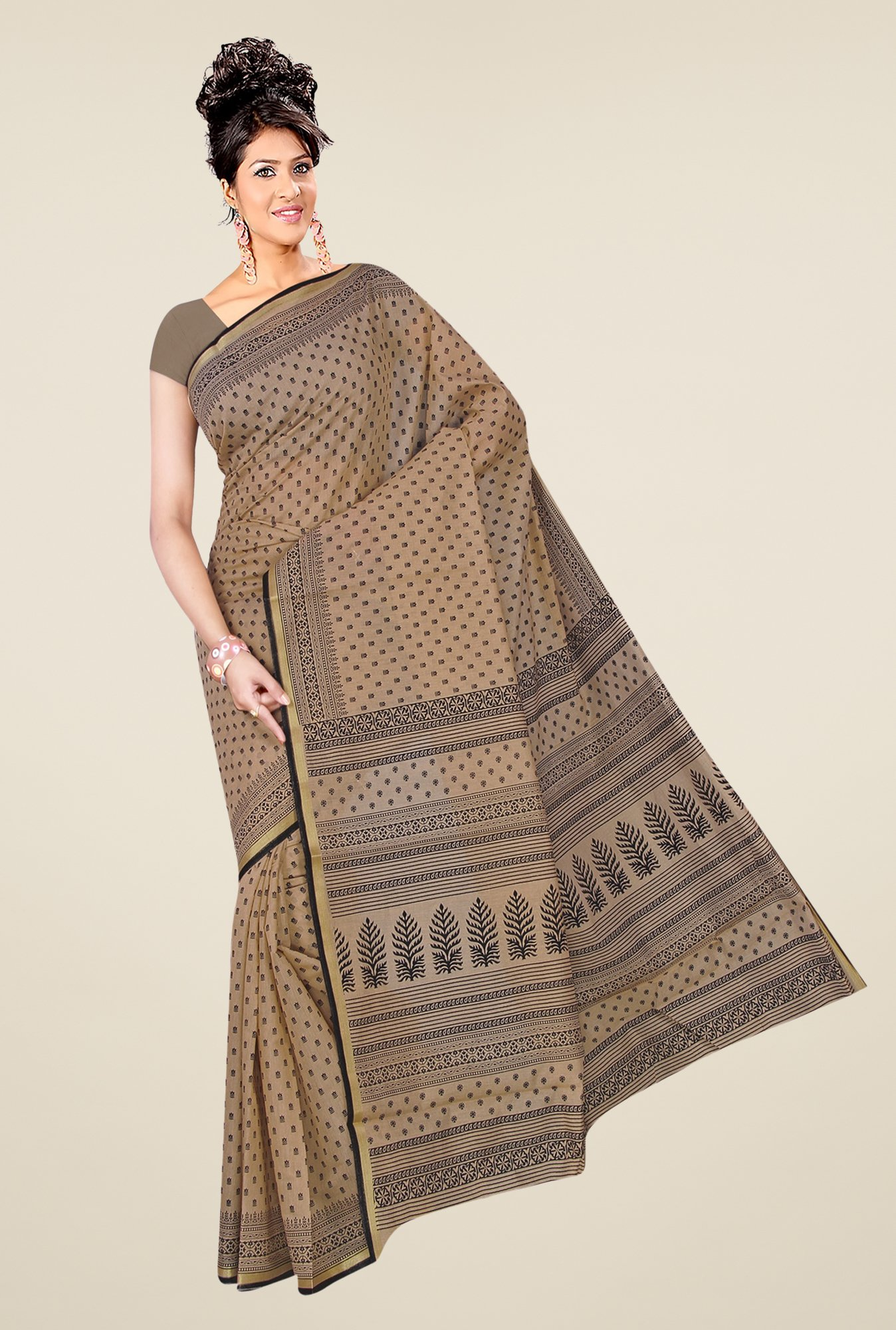 Salwar Studio Beige & Black Ethnic Wear Printed Saree