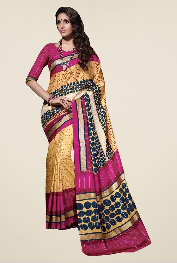 Salwar Studio Yellow & Pink Tussar Silk Printed Saree