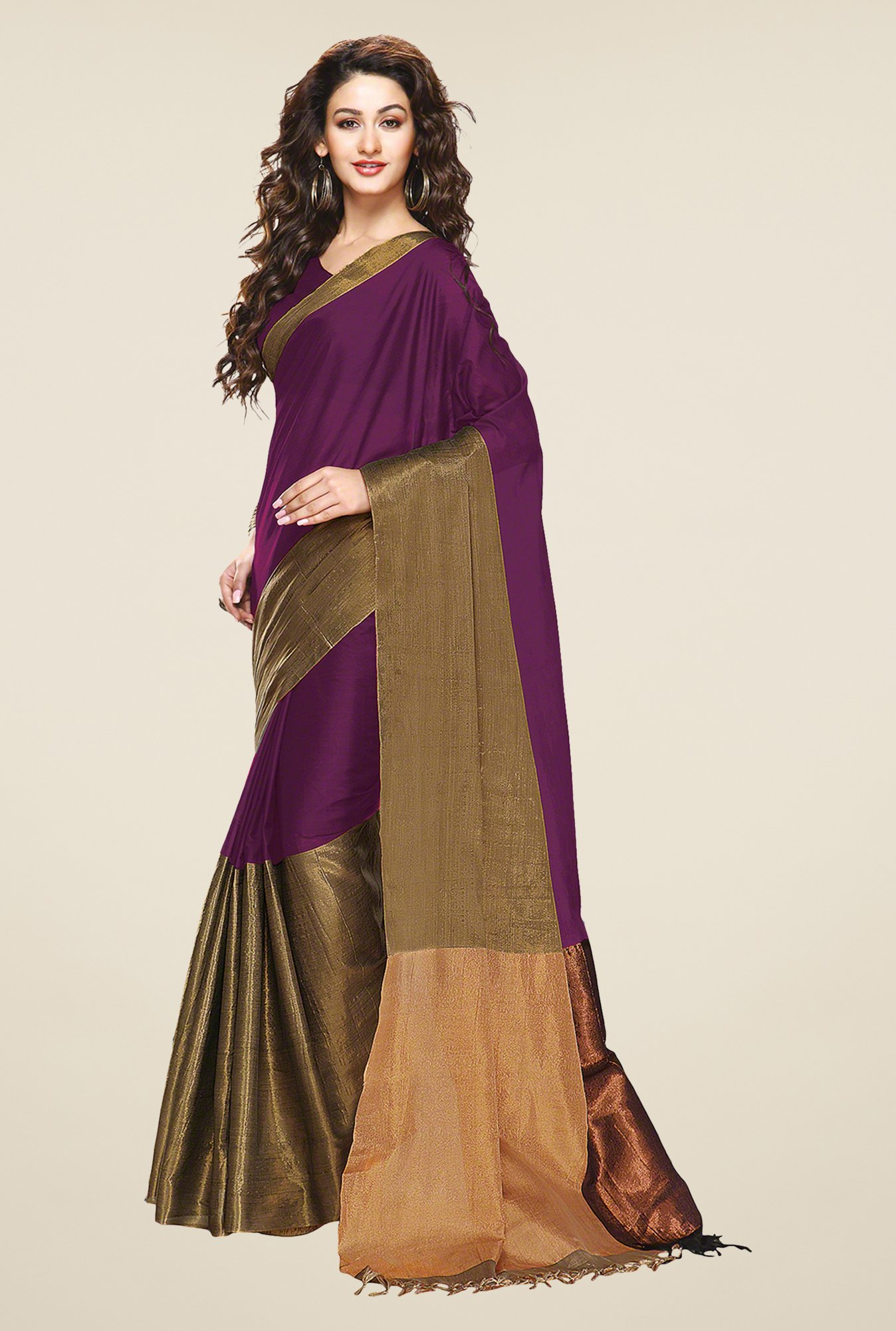 Salwar Studio Violet & Golden Zari Border Cotton Saree