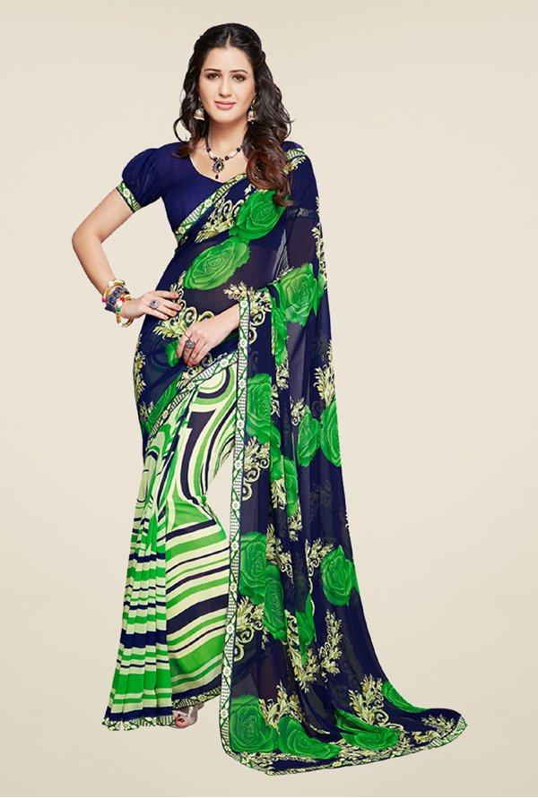 Salwar Studio Green and Blue Printed Saree