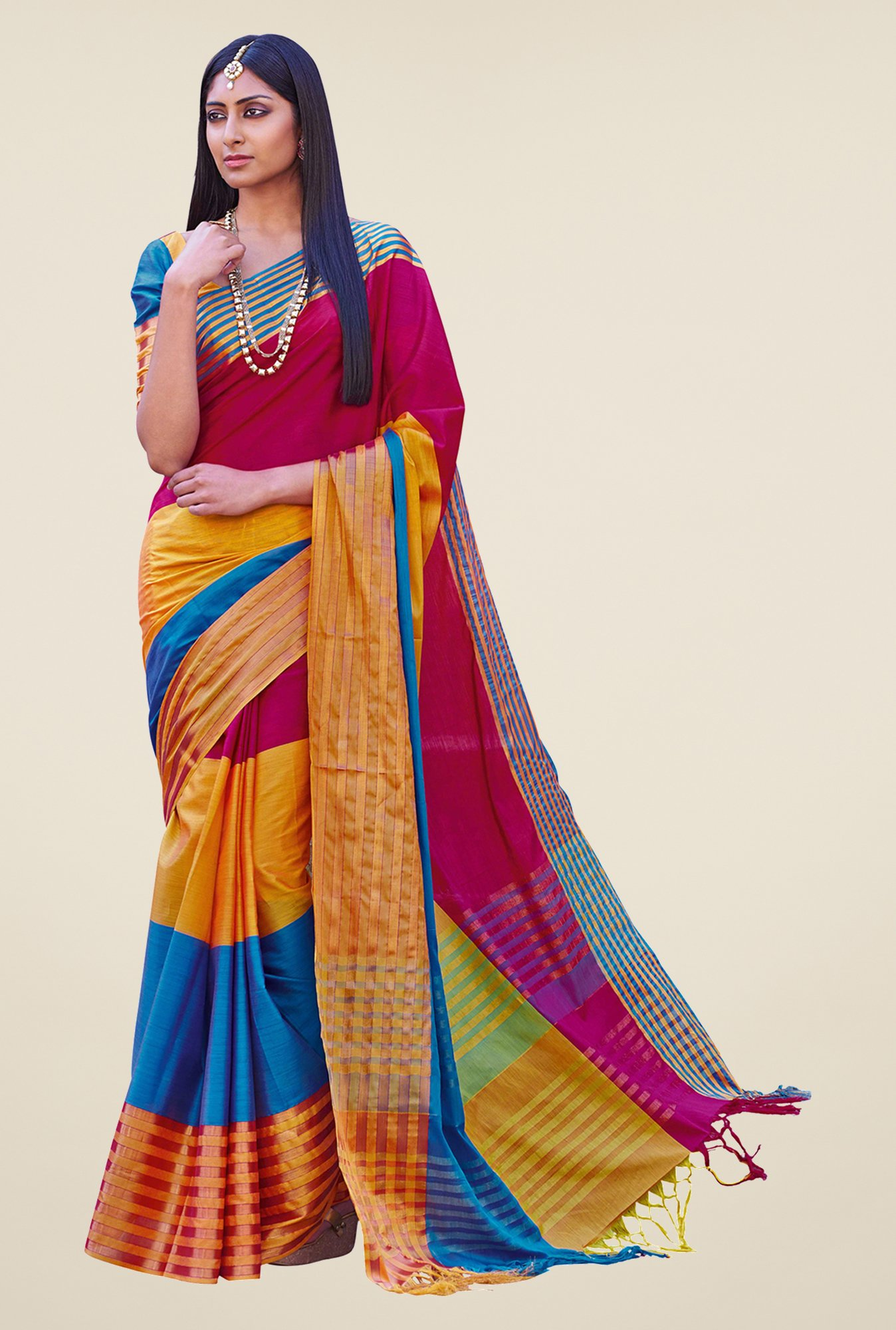 Salwar Studio Multicolor Handwoven Cotton Saree