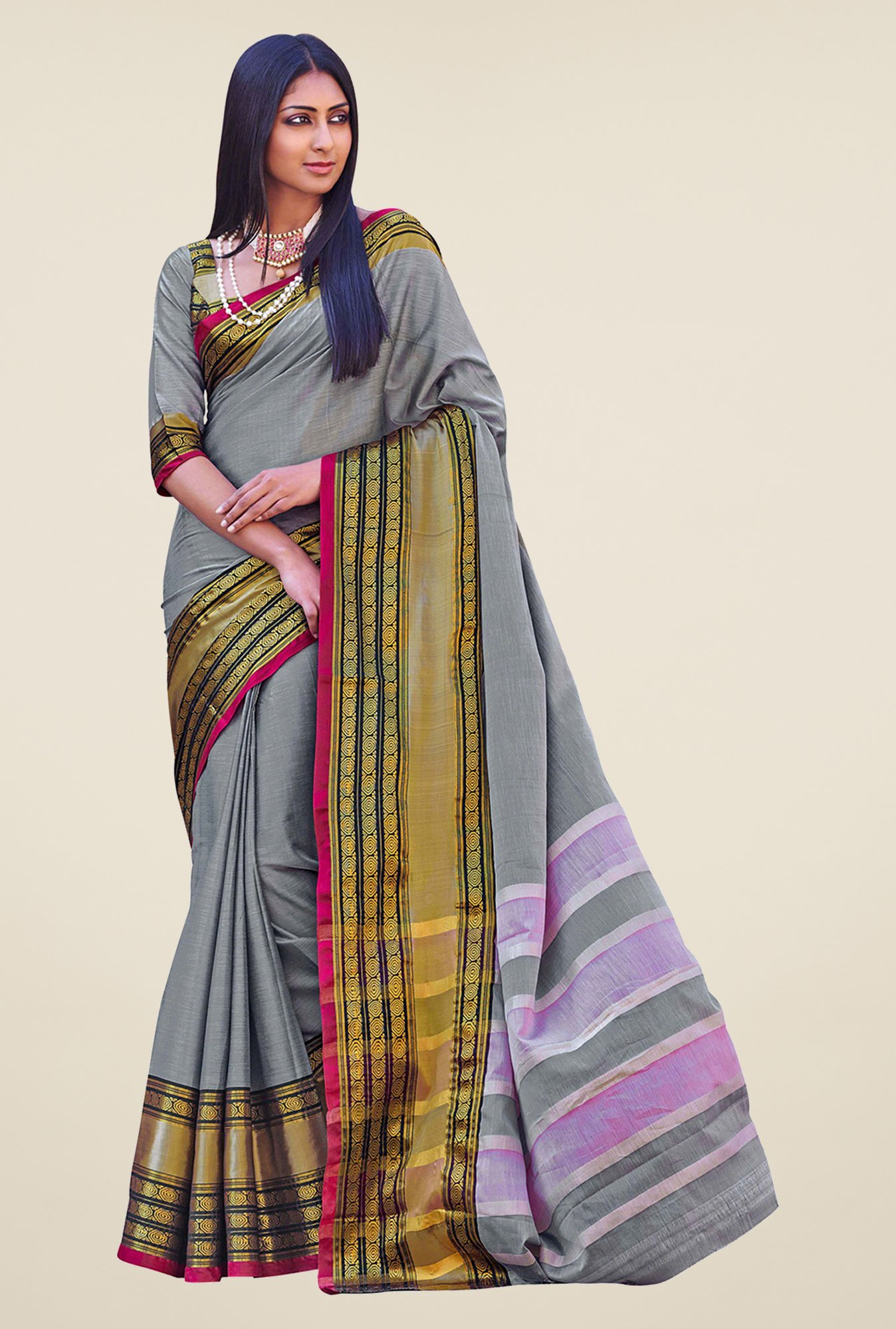 Salwar Studio Grey Handwoven Cotton Saree