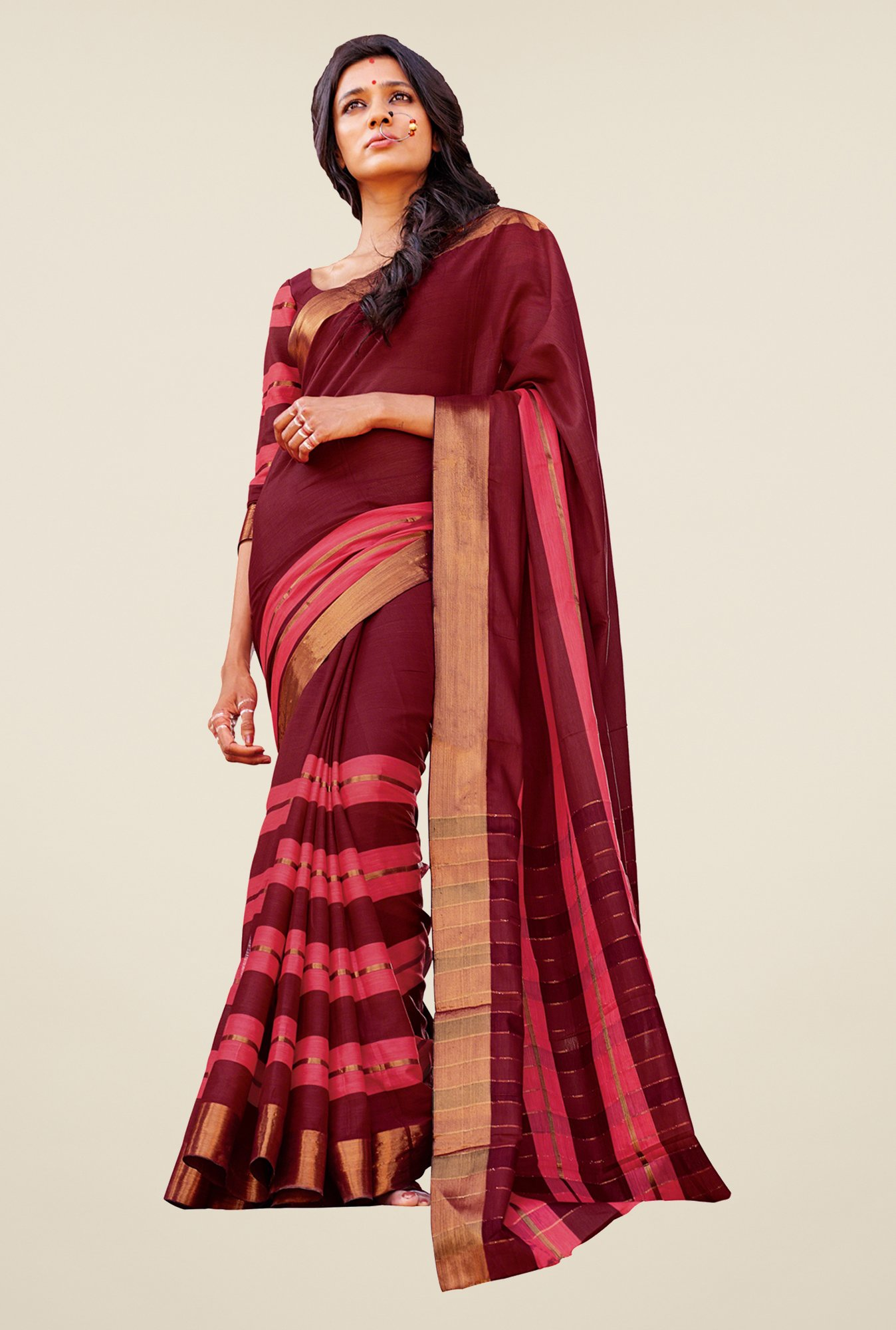 Salwar Studio Wine Handwoven Cotton Saree