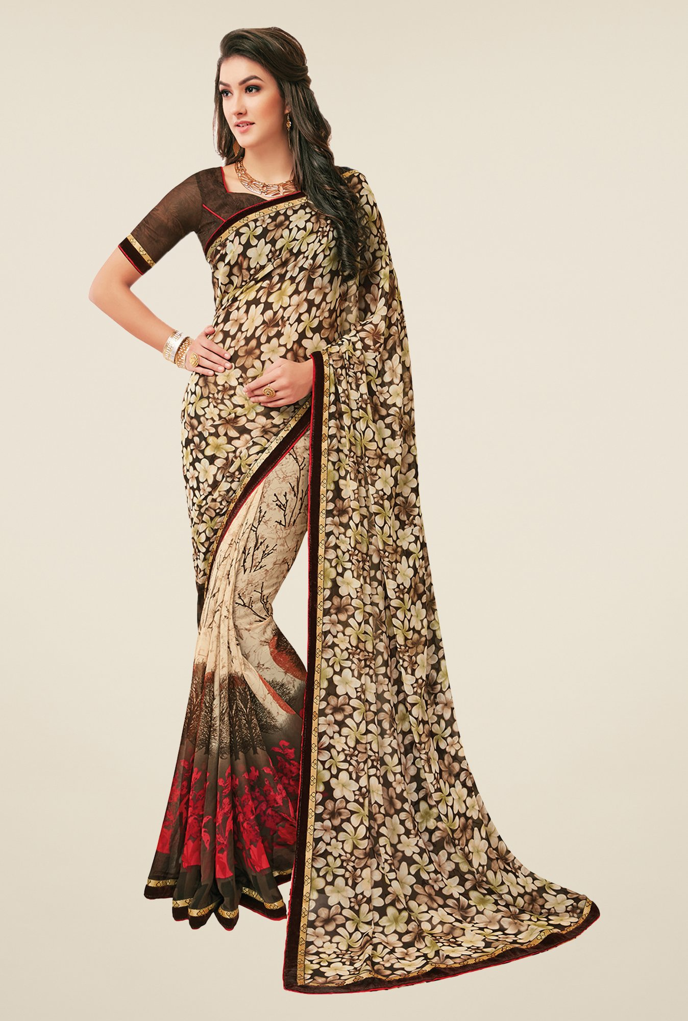 Salwar Studio Beige & Brown Floral Print Saree