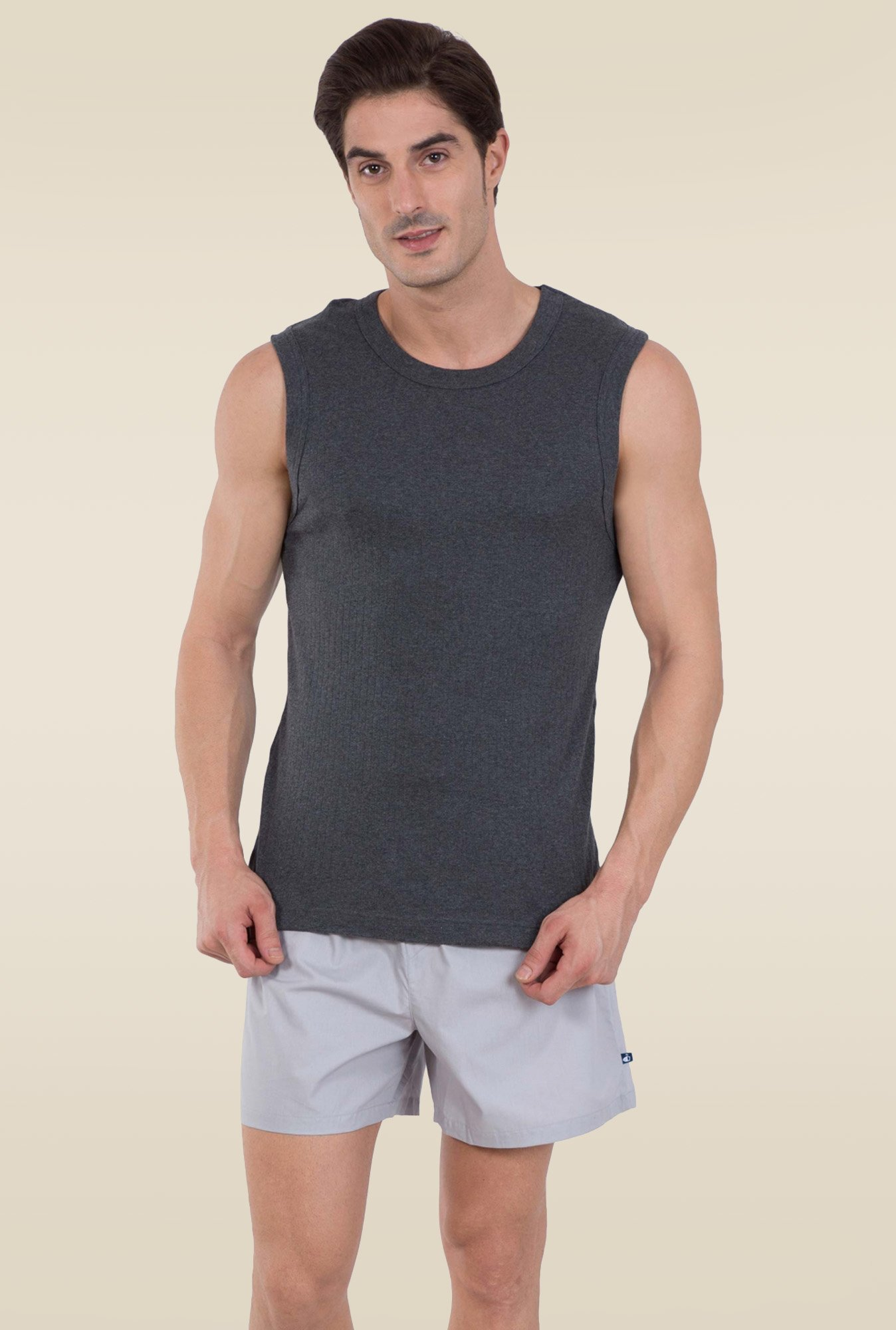 7570c2c23bdaa Buy Jockey Charcoal Melange Muscle Tee - 9930 for Men Online ...