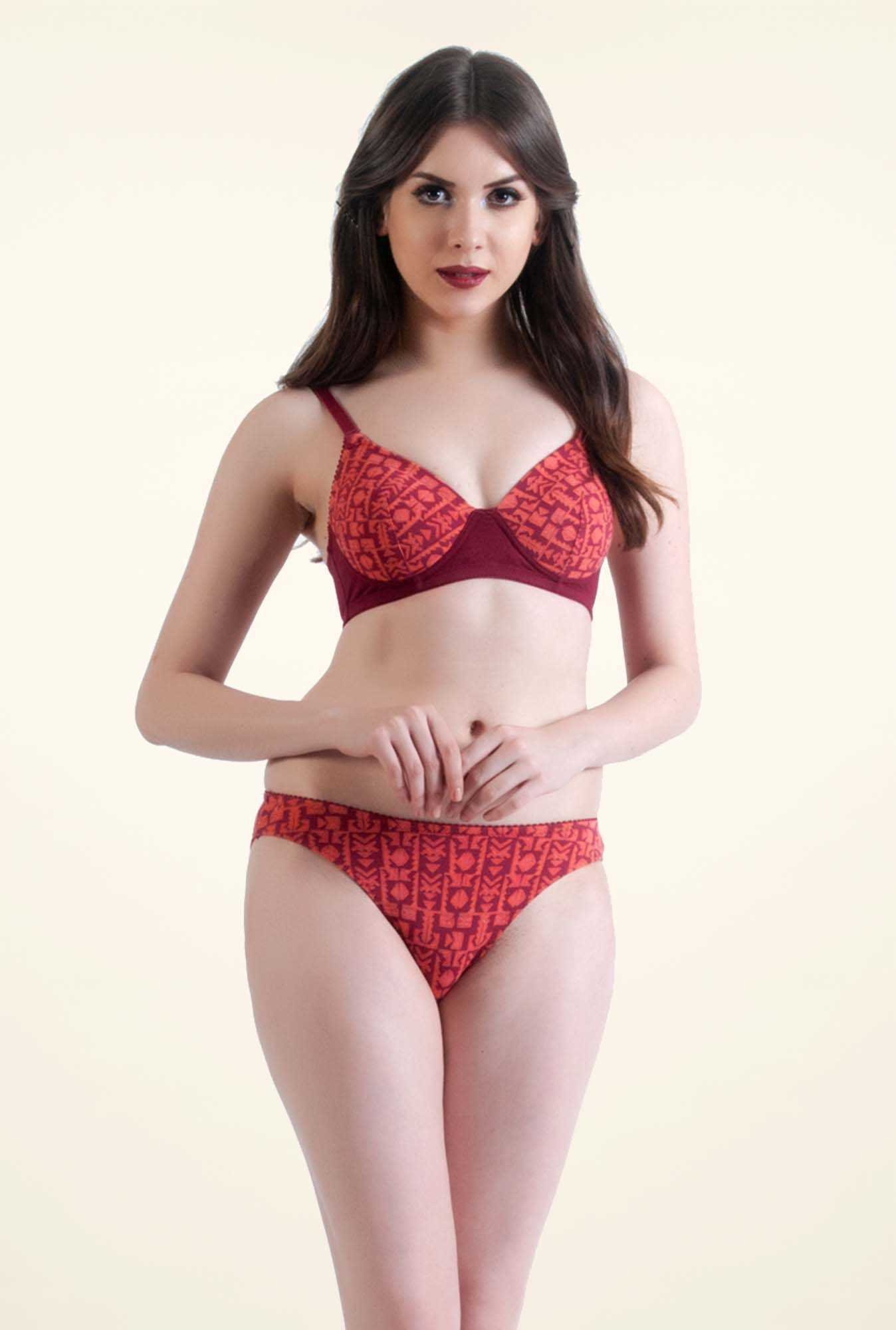 Bwitch Red Cotton Seamless Bra