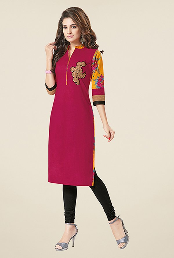 Salwar Studio Pink & Yellow Unstitched Kurti