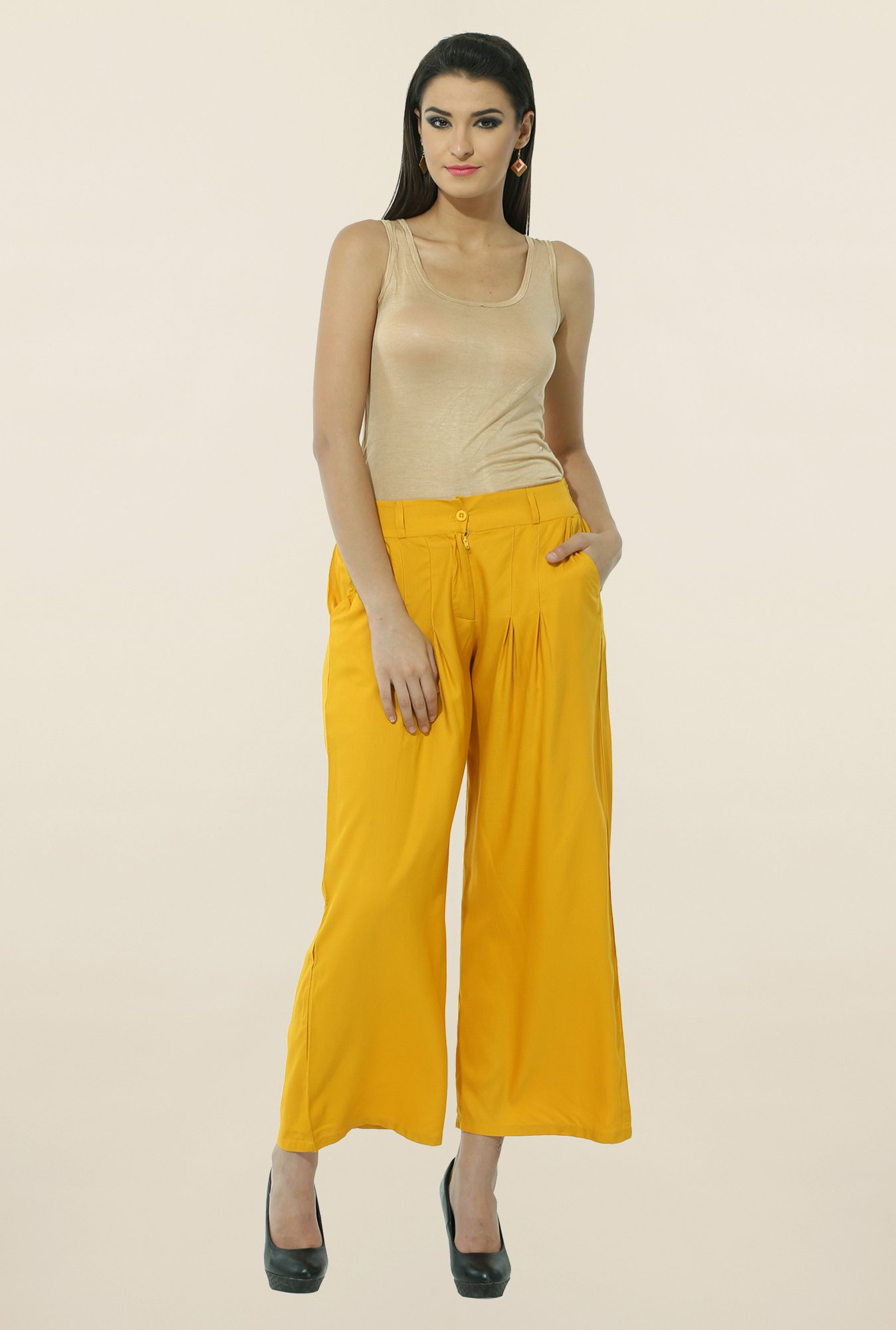 W Yellow Pleated Palazzos