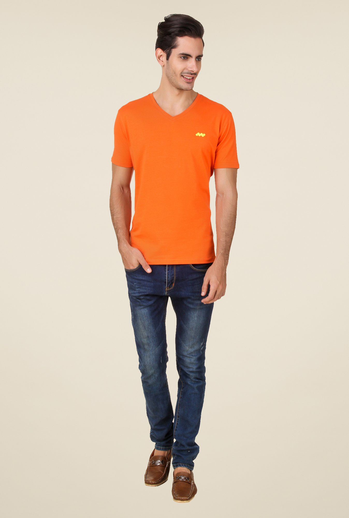 Spunk Orange Solid T Shirt