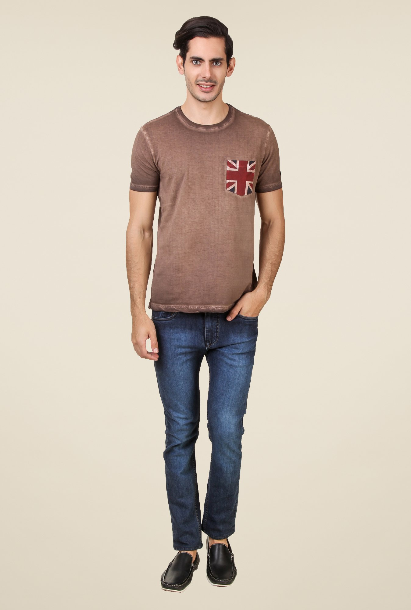 Spunk Brown Solid T Shirt