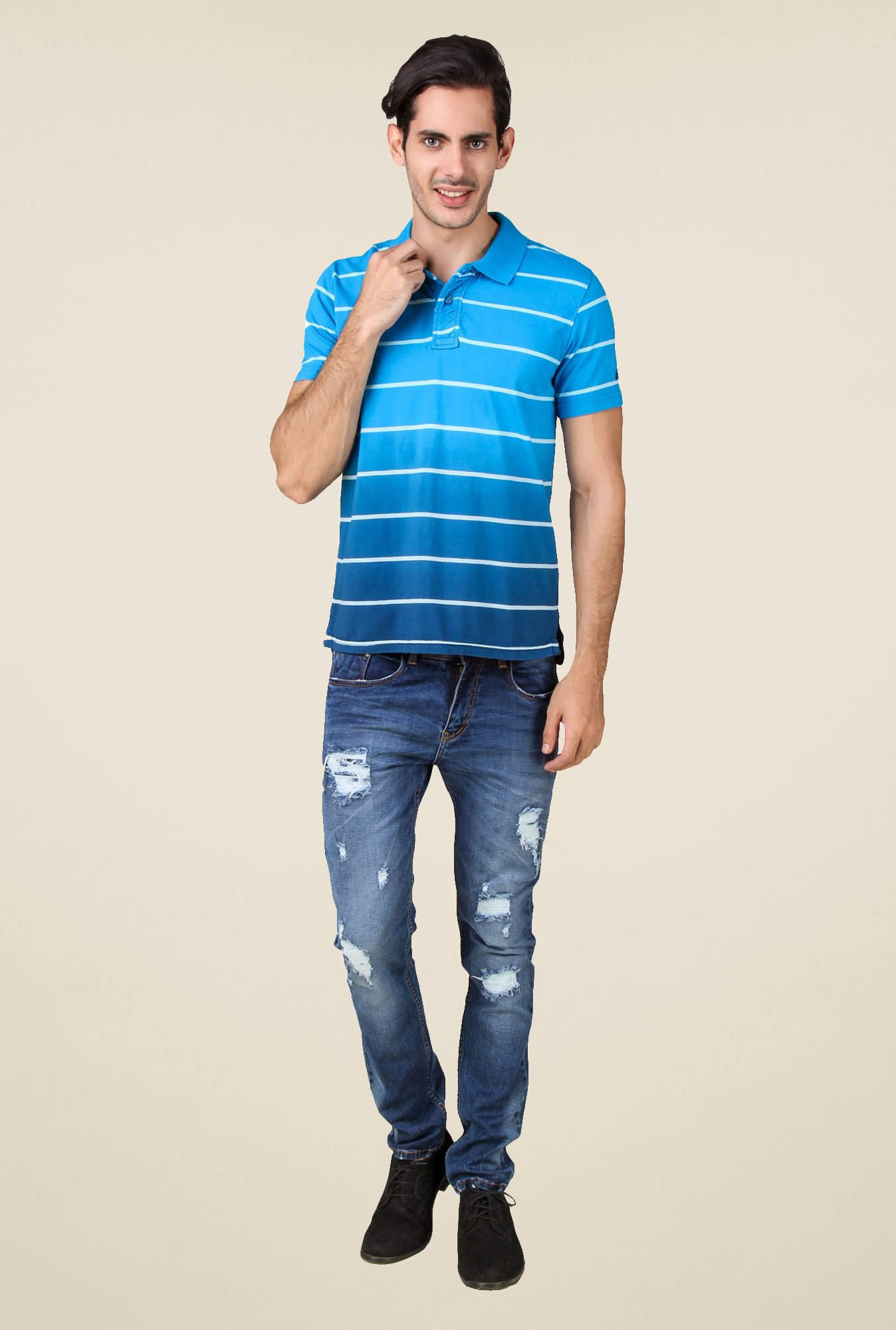 Spunk Blue Stripe T Shirt