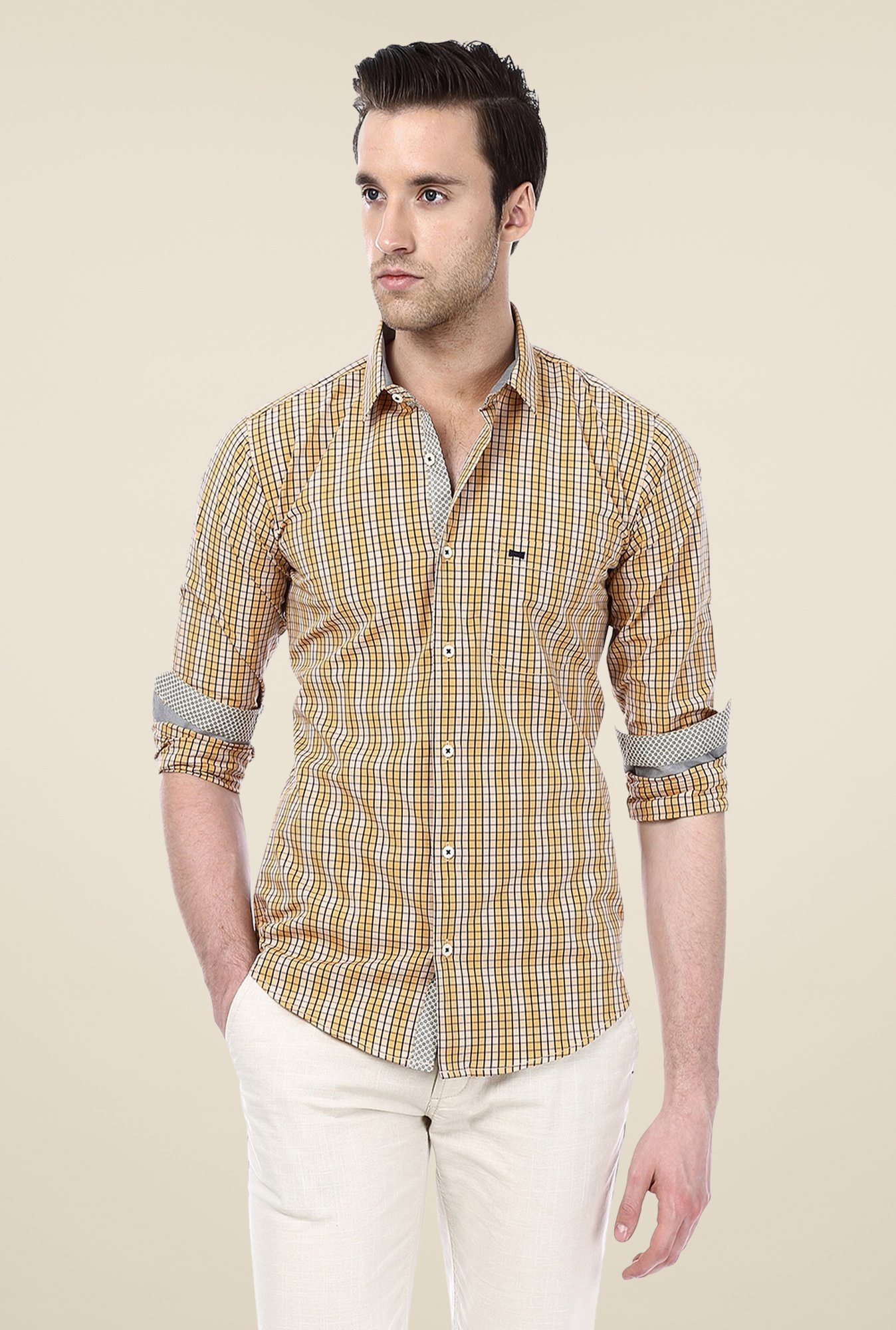 Basics Mustard Checks Shirt