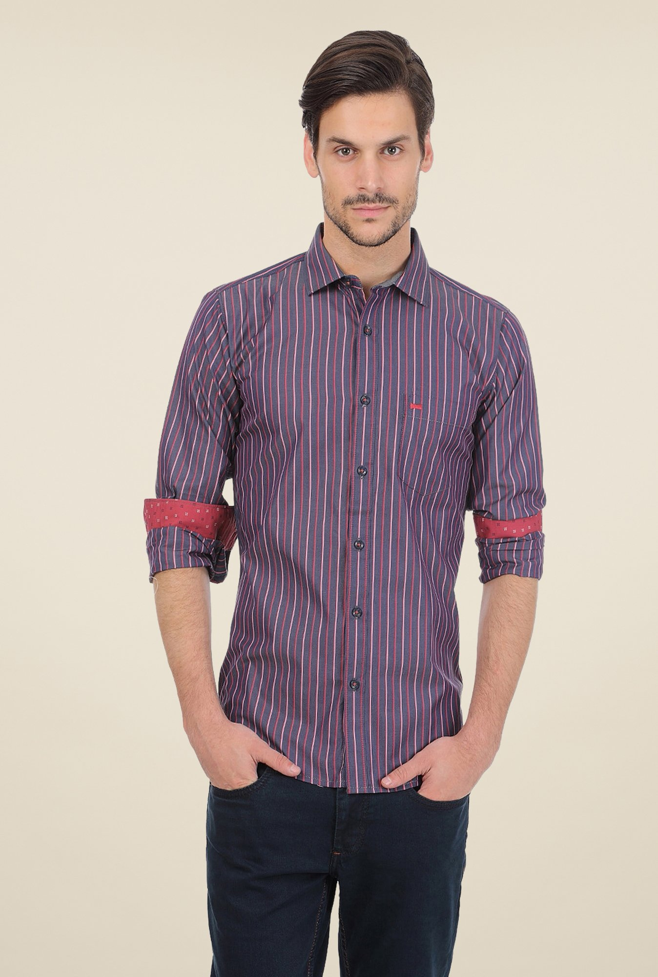 Basics Purple Striped Shirt