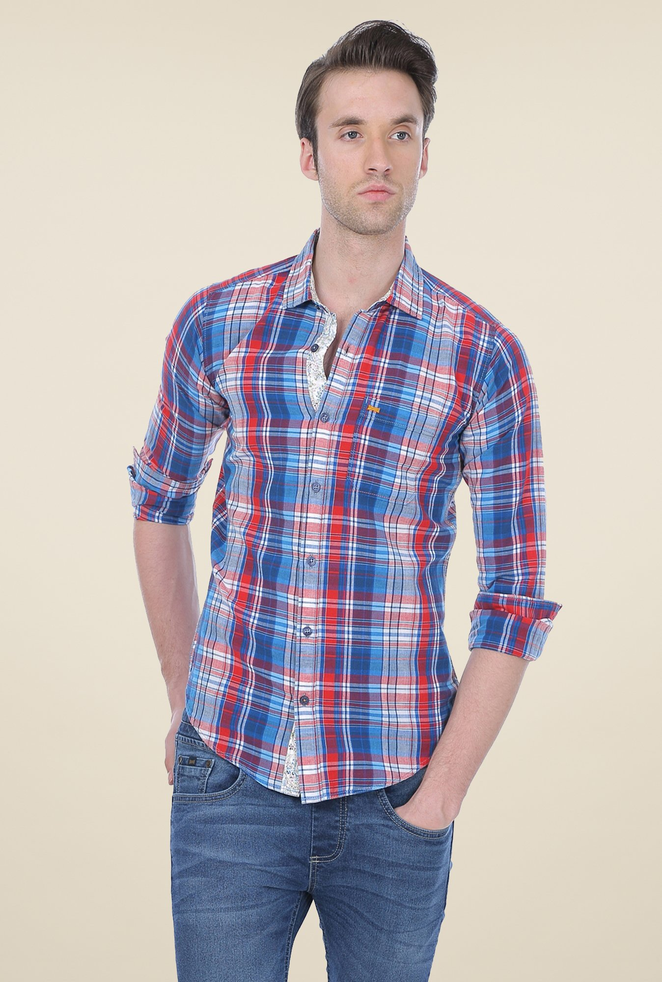 Basics Blue & Red Checks Shirt