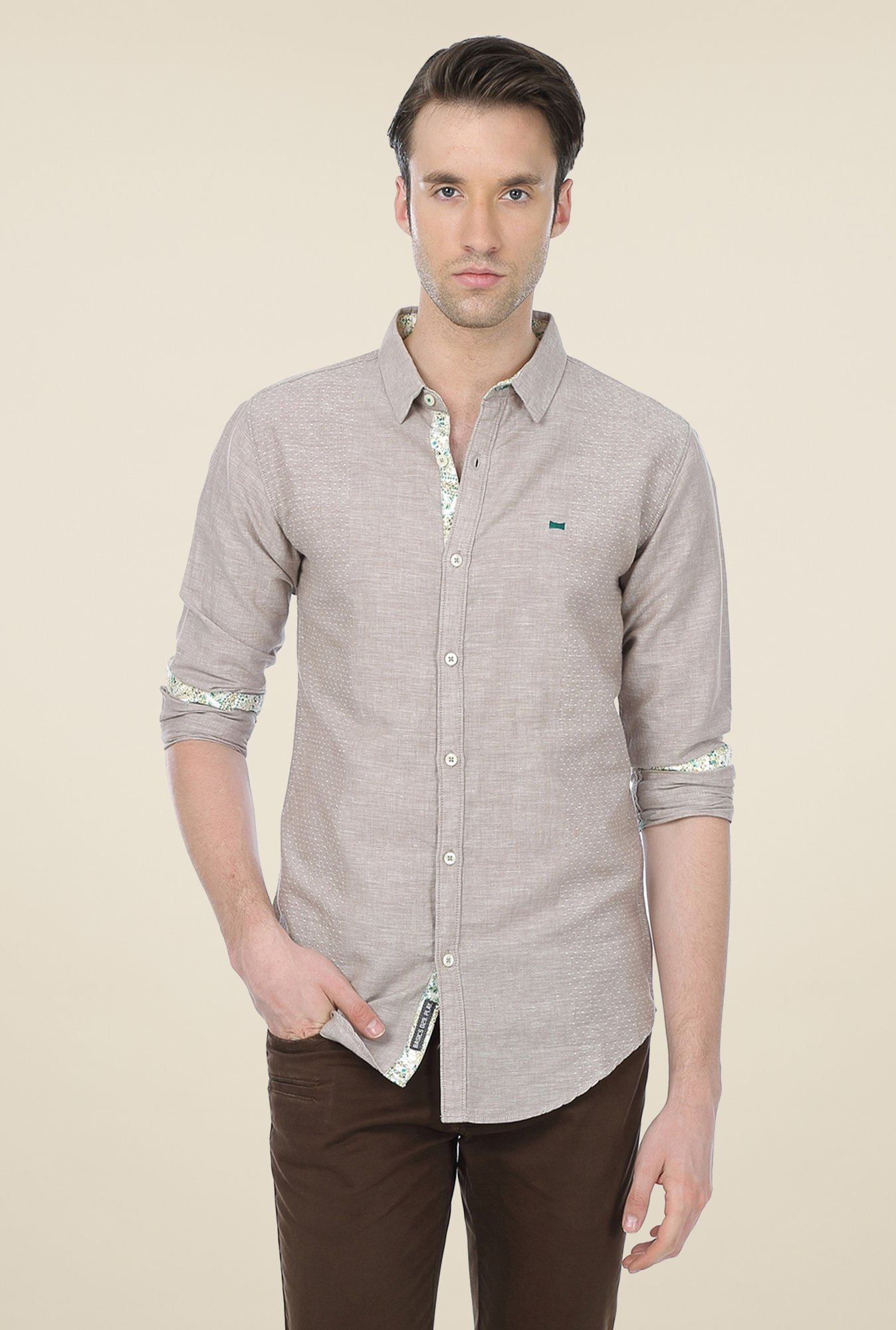 Basics Beige Self Print Shirt
