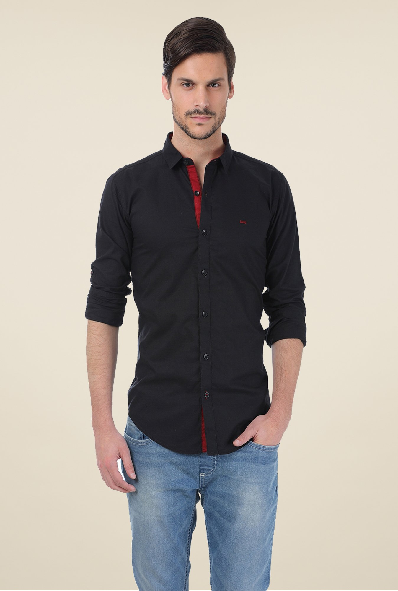 Basics Black Solid Shirt