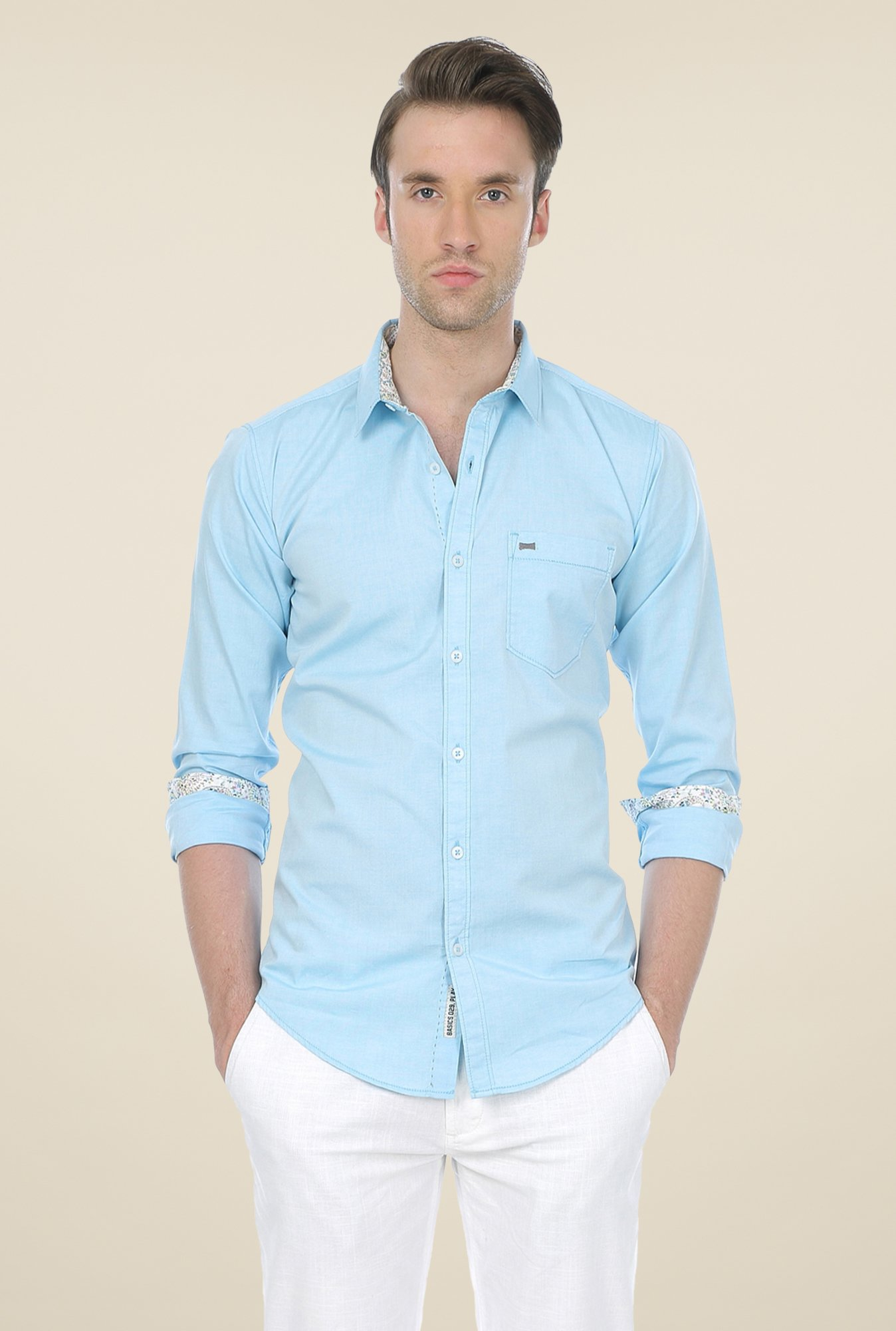 Basics Aqua Solid Shirt