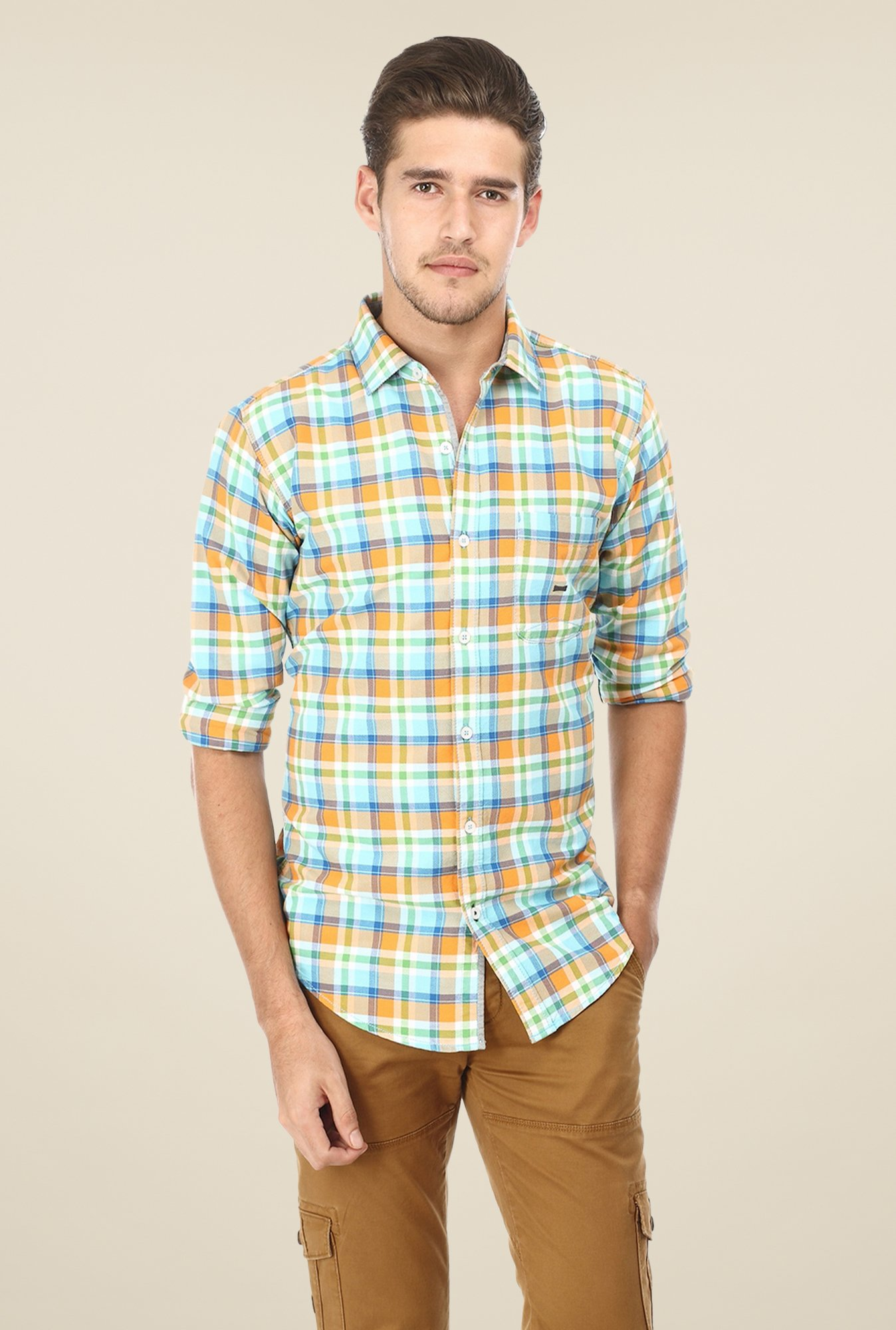 Basics Blue & Orange Checks Shirt