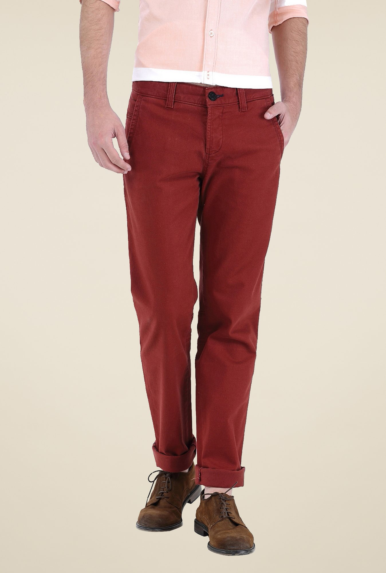 Basics Maroon Solid Trousers