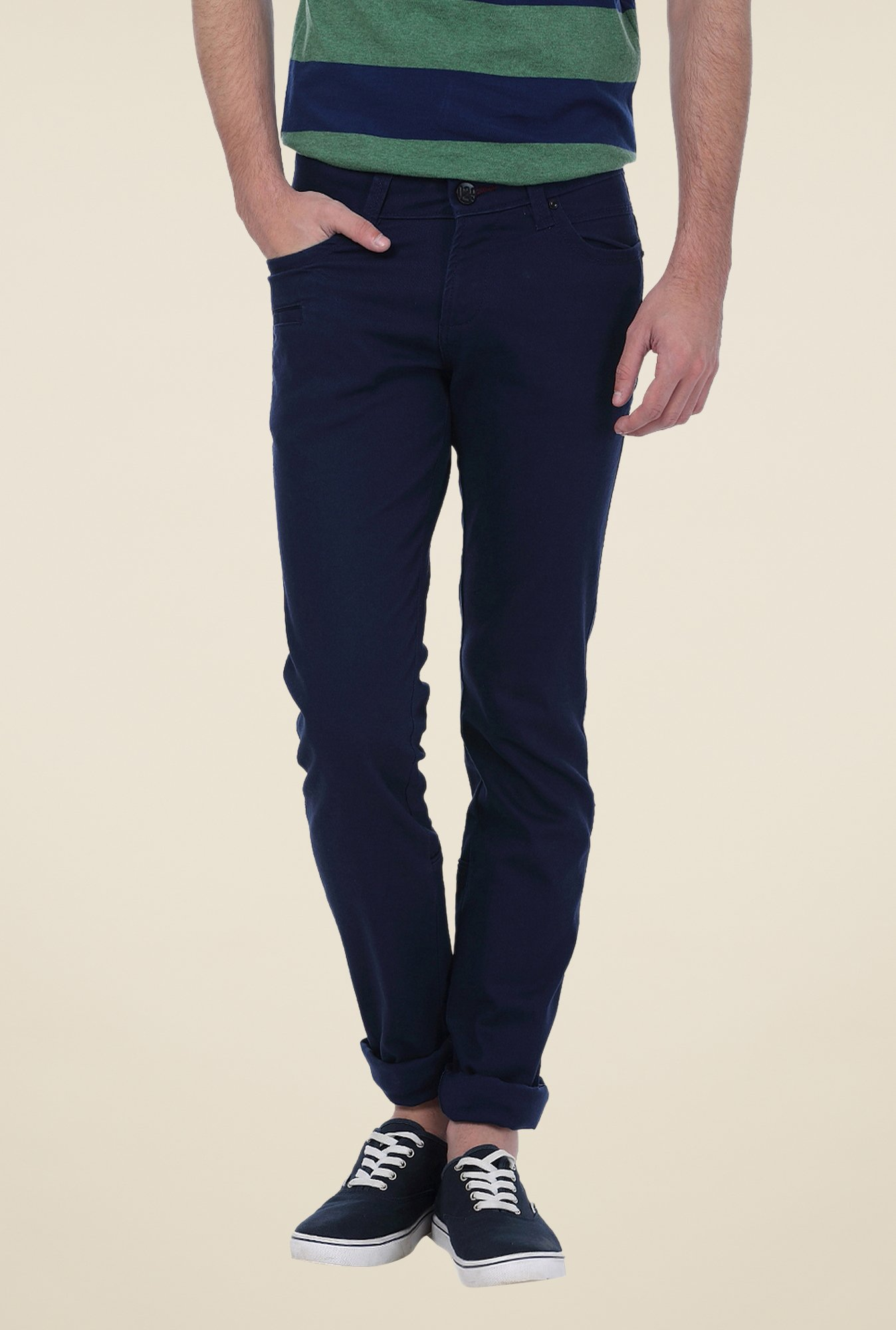Basics Navy Solid Trousers