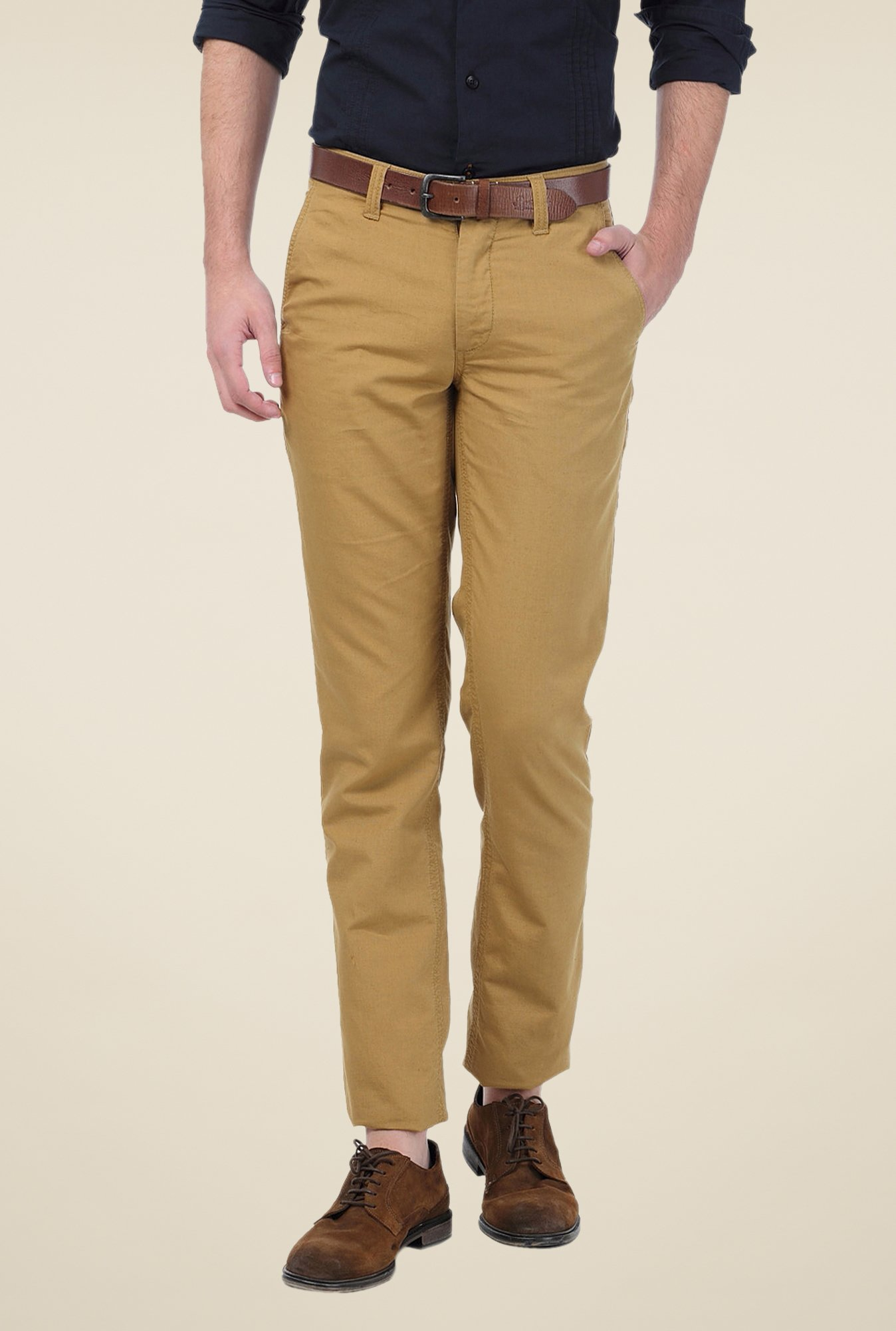 Basics Khaki Solid Slim-fit Trousers