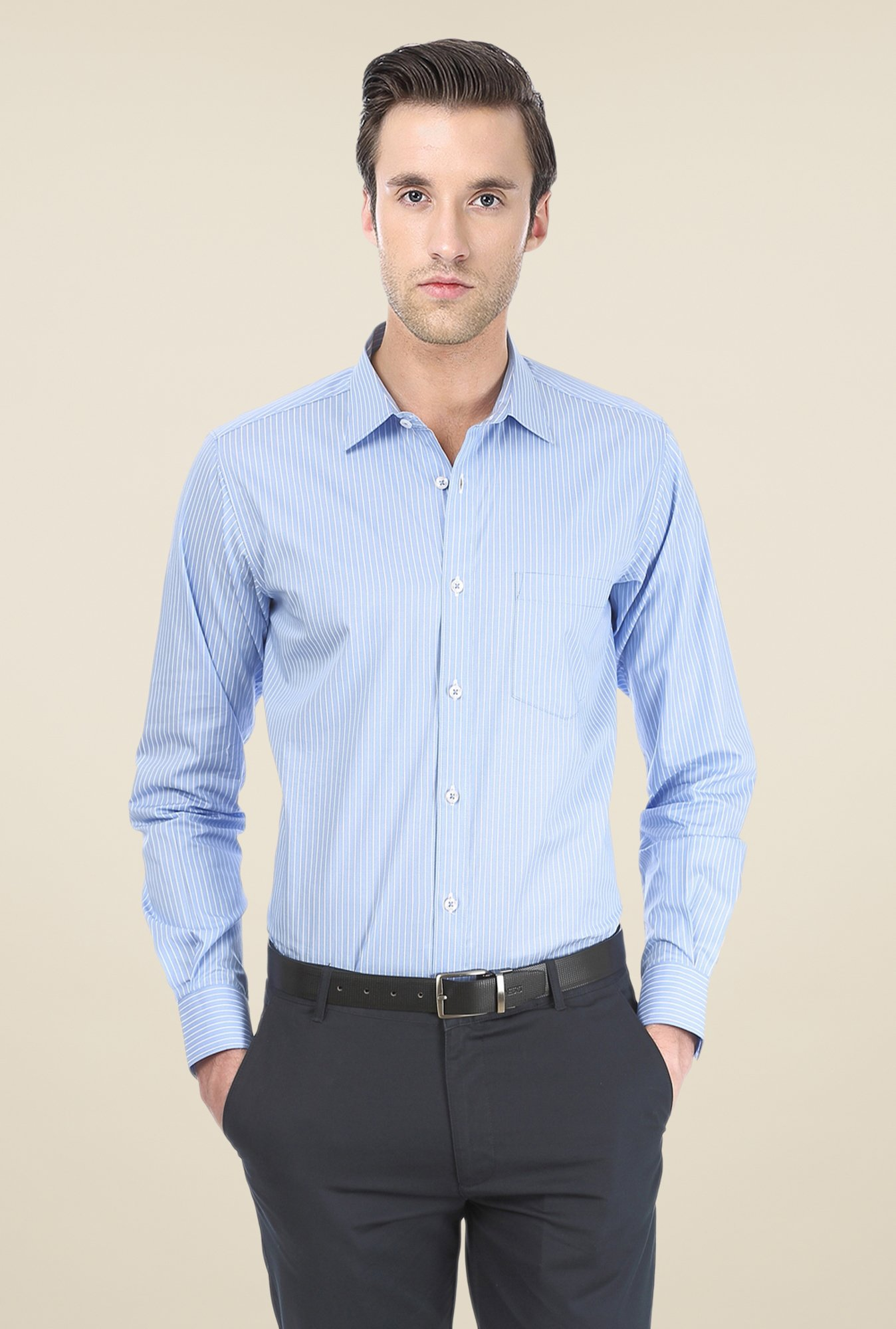 Basics Blue Pin Striped Shirt