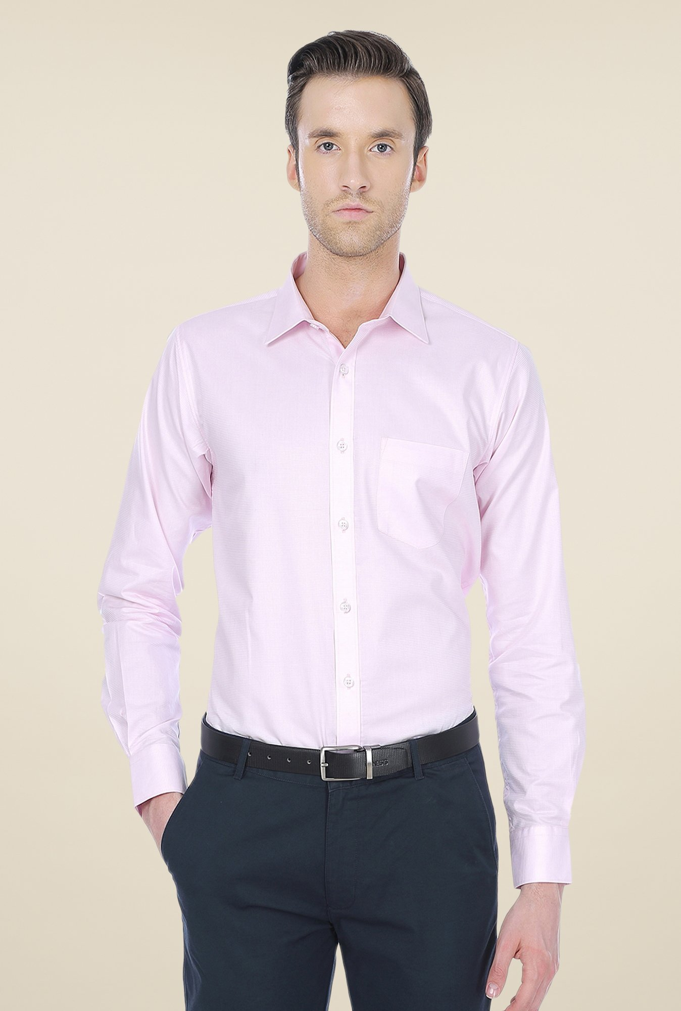 Basics Light Pink Striped Shirt