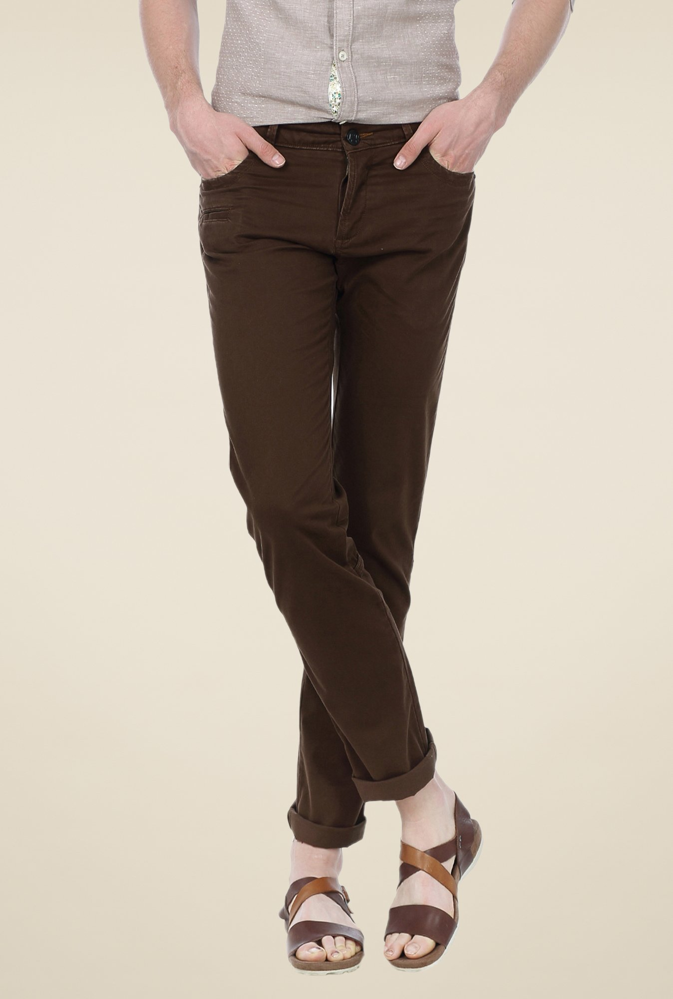 Basics Brown Solid Trousers