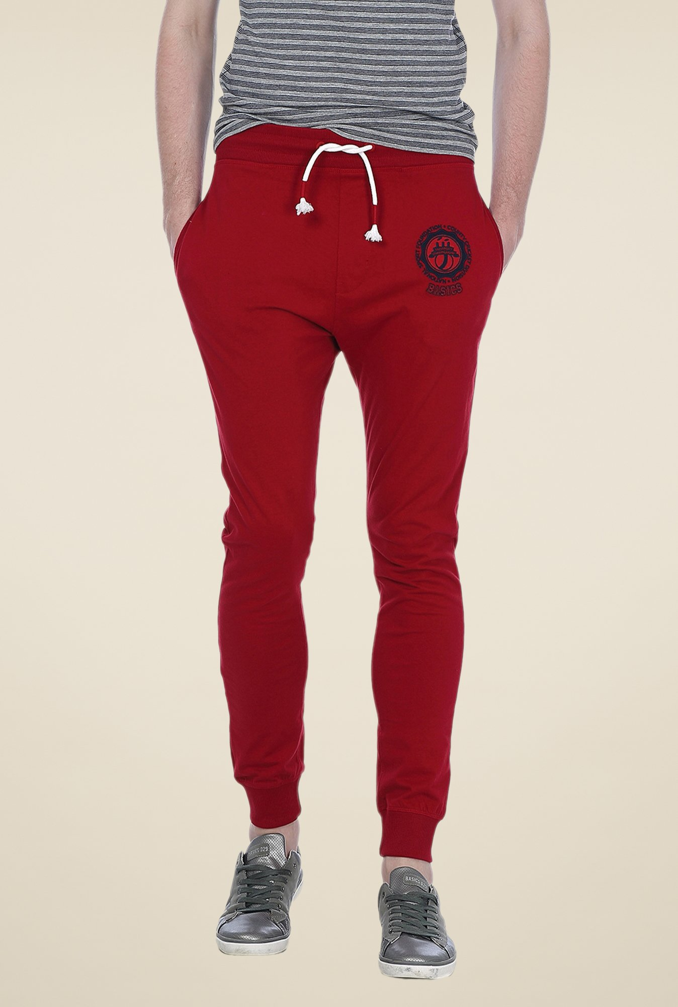 Basics Red Solid Joggers