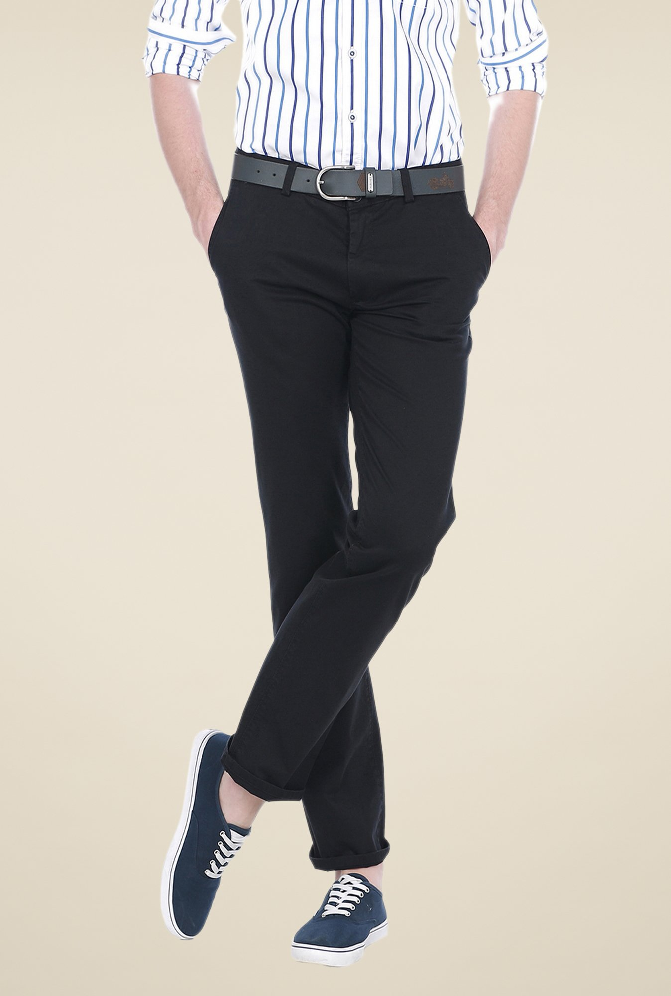 Basics Black Solid Slim-fit Trousers