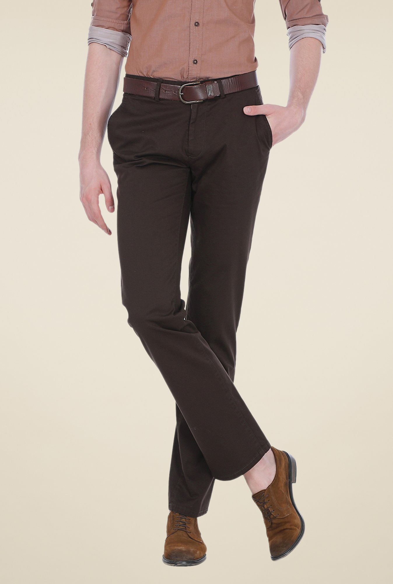 Basics Brown Solid Slim-fit Trousers