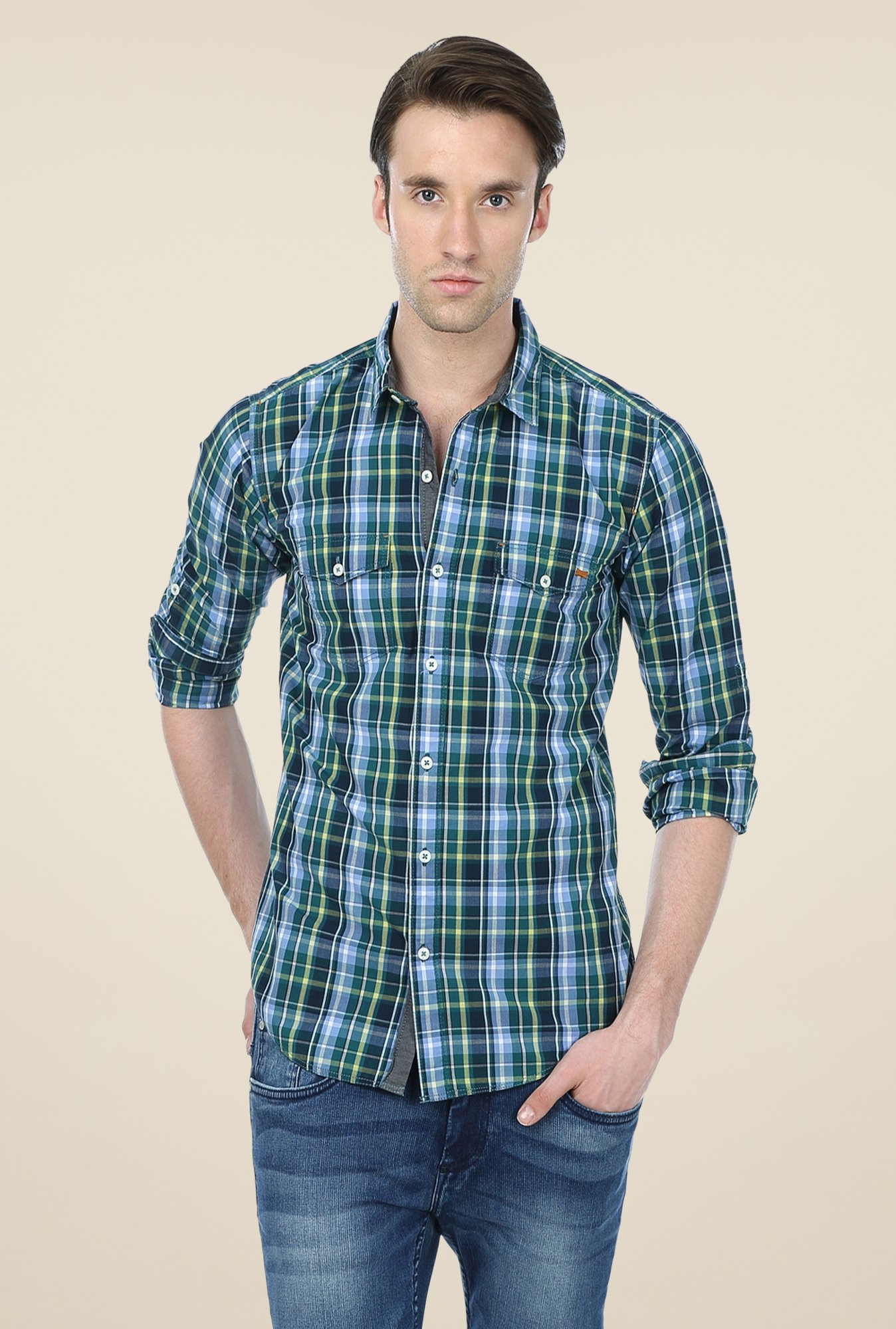 Basics Blue & Navy Checks Shirt