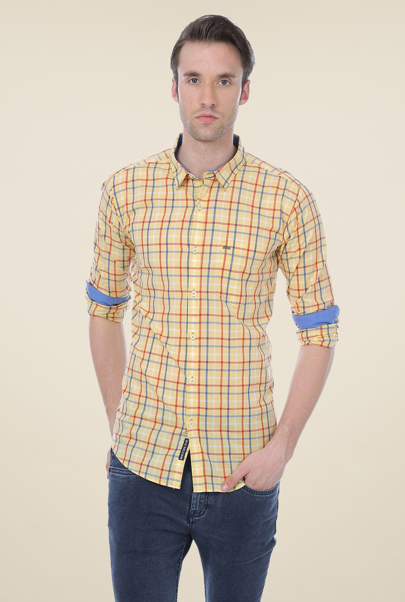 Basics Yellow Checks Shirt