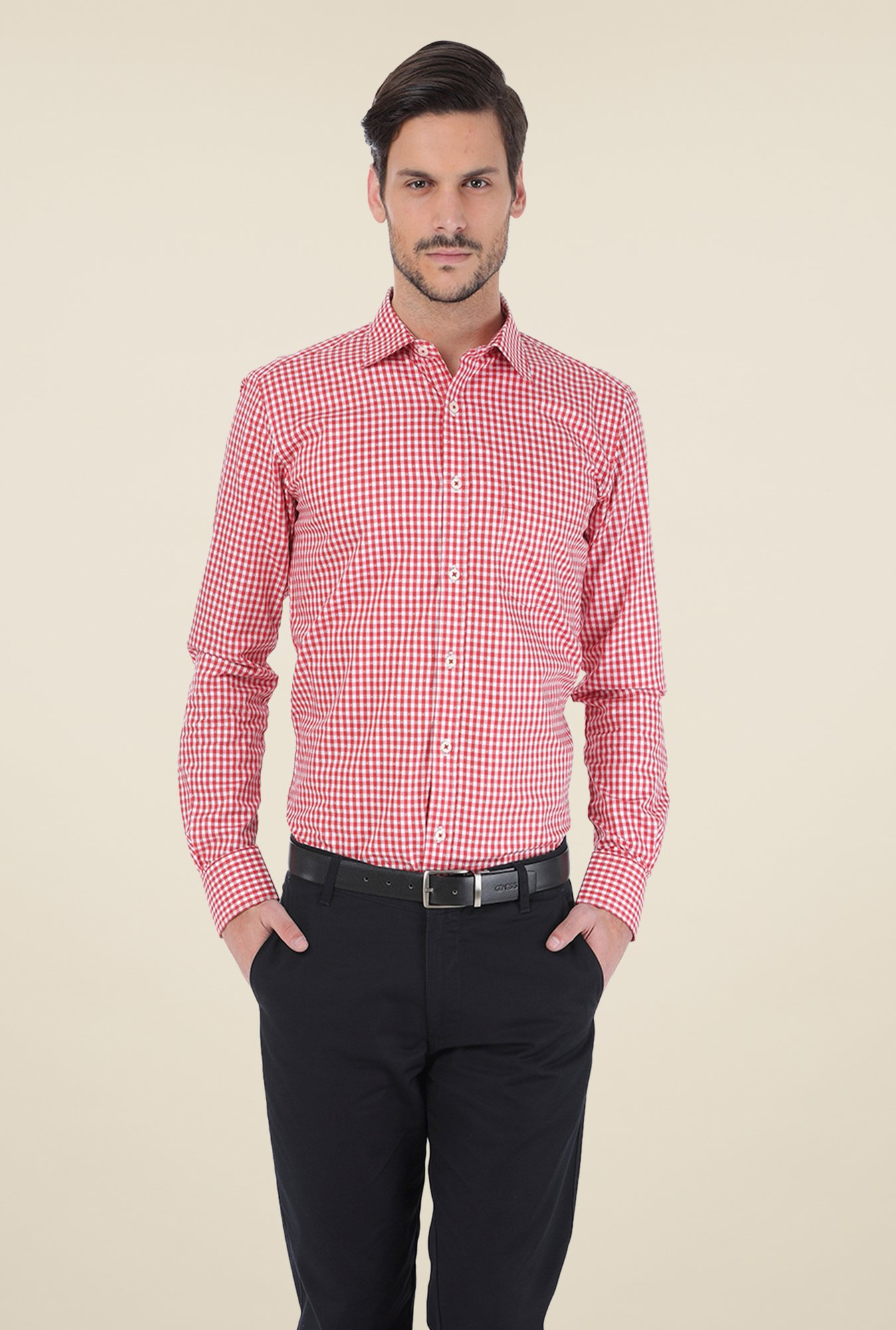 Basics Red Checks Shirt