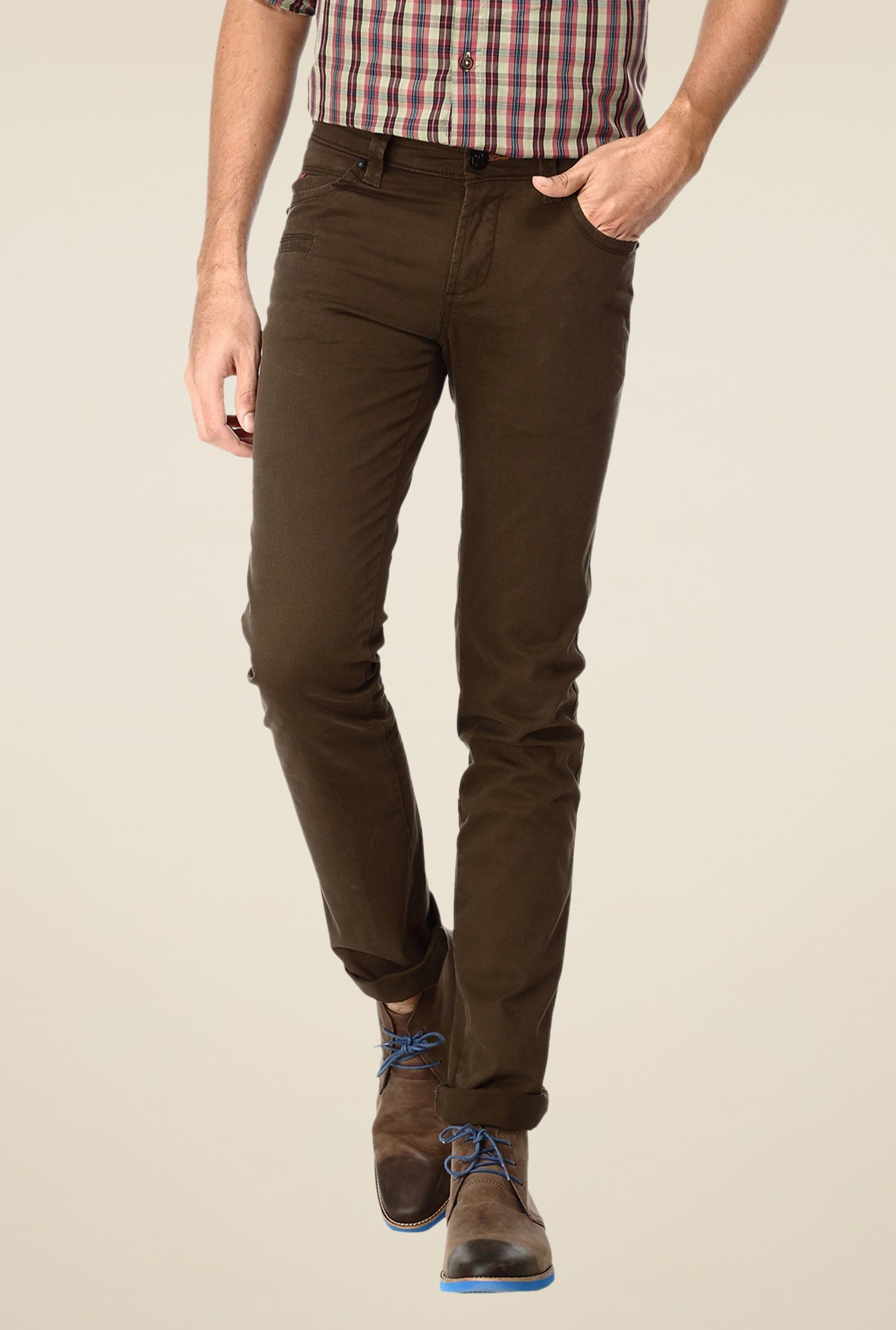 Basics Brown Solid Low-rise Trousers