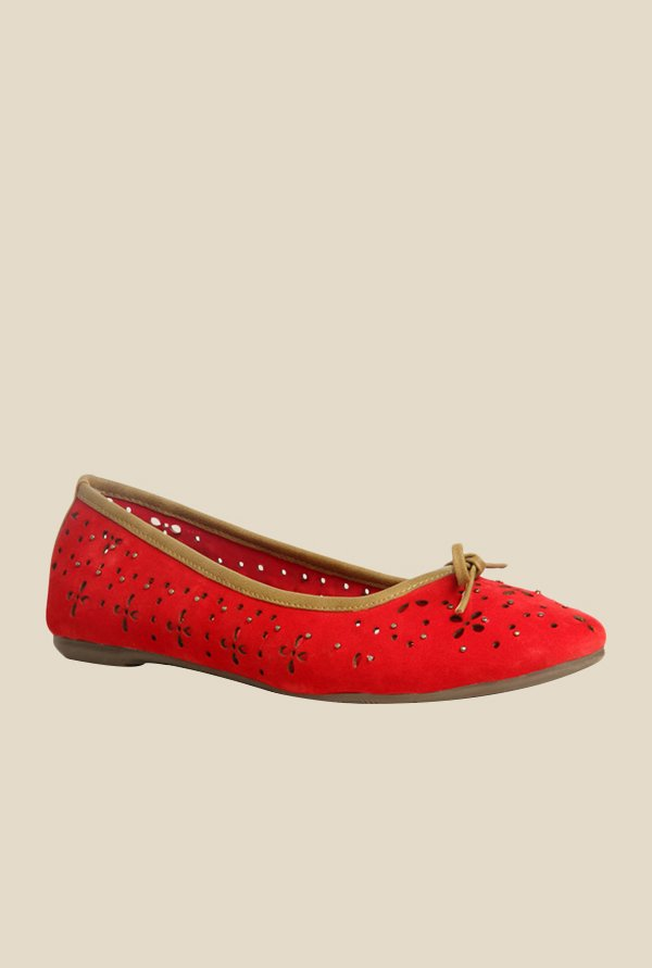 Bata Lazer Red Flat Ballets