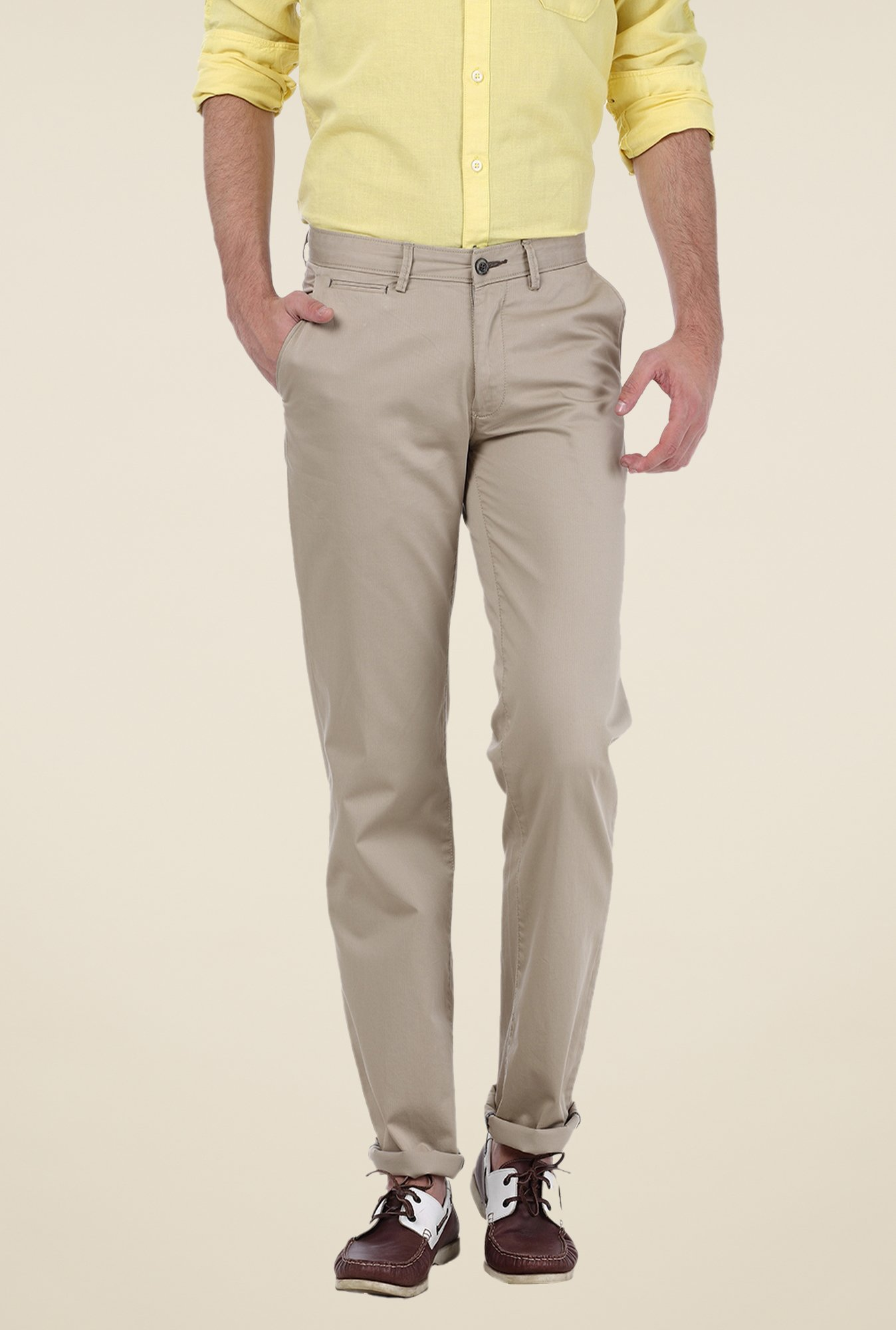 Basics Beige Solid Trousers