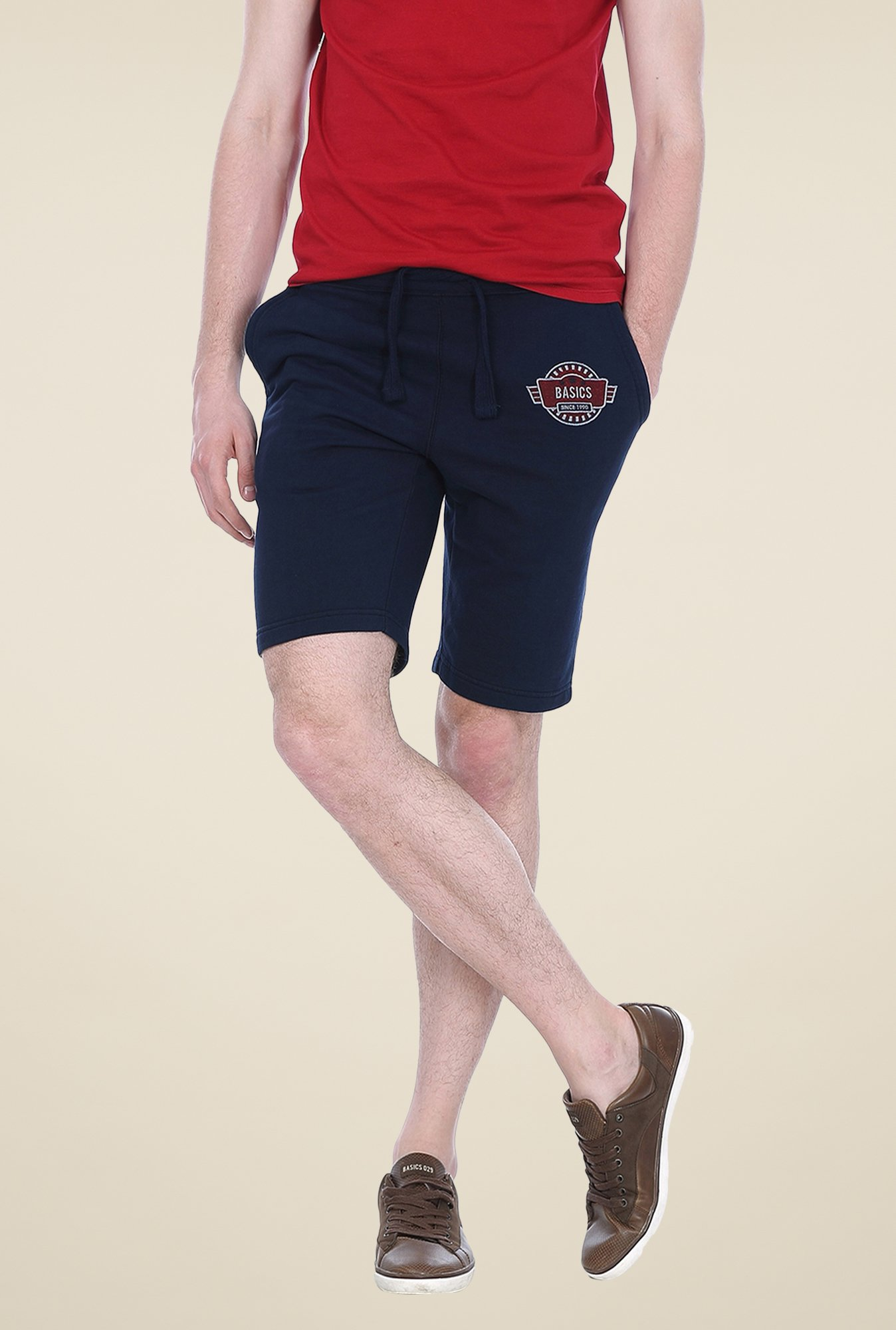 Basics Navy Solid Shorts