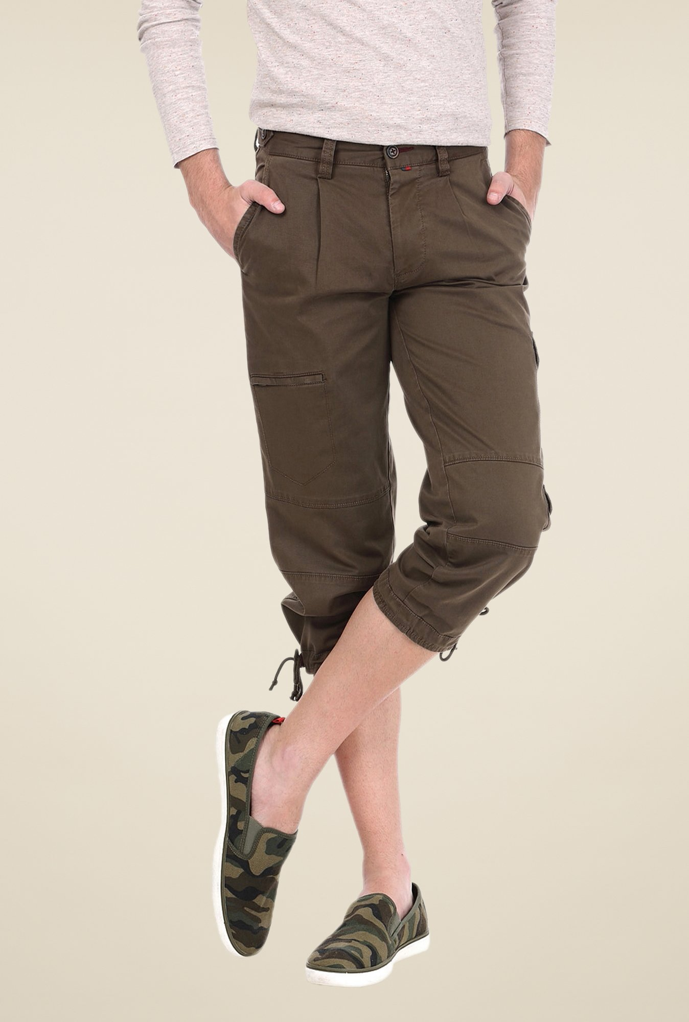 Basics Olive Solid Shorts