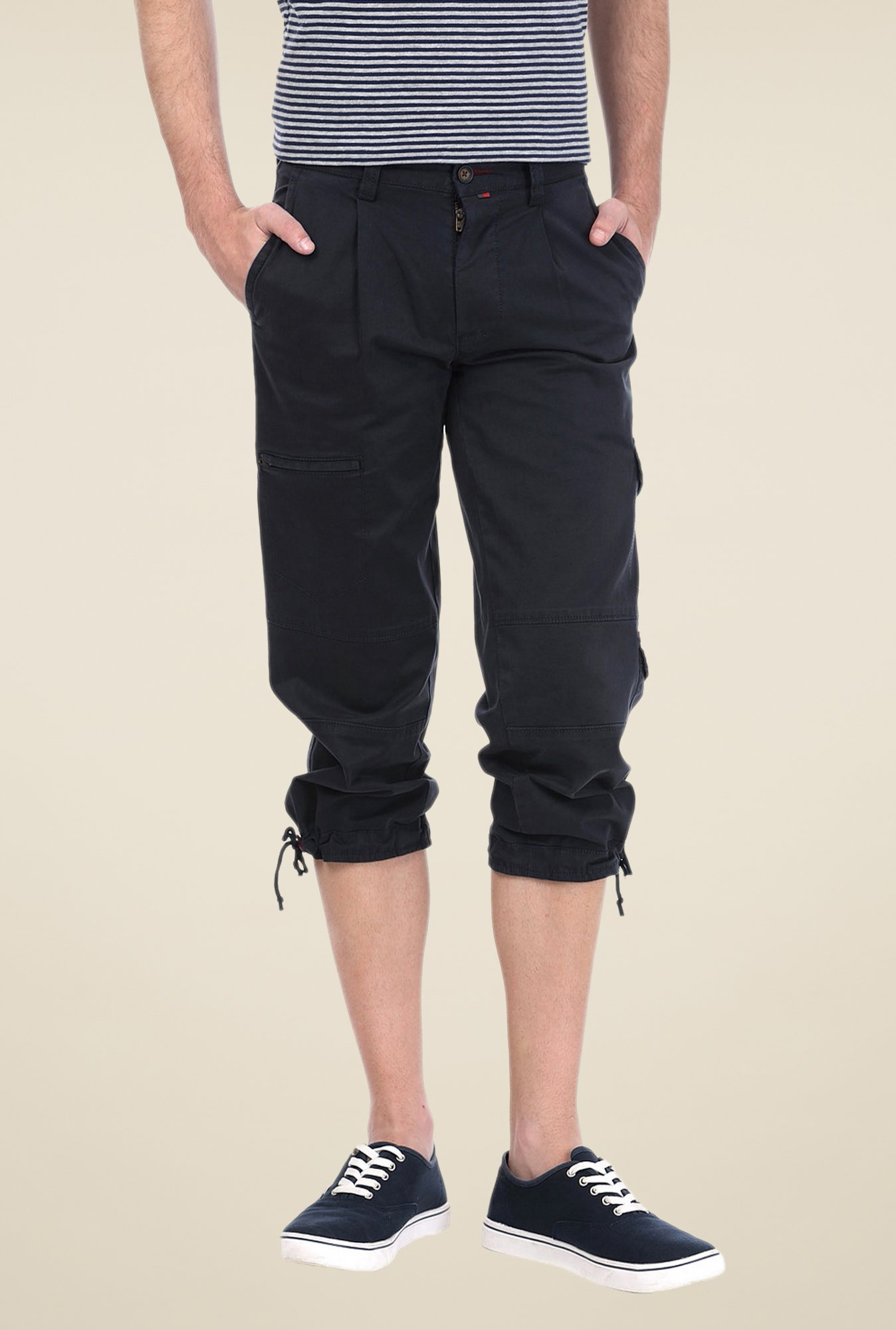 Basics Black Solid Shorts