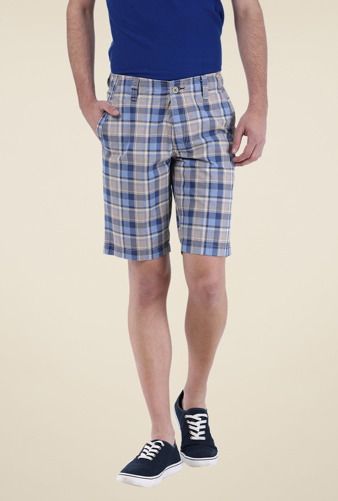 Basics Blue Checks Shorts