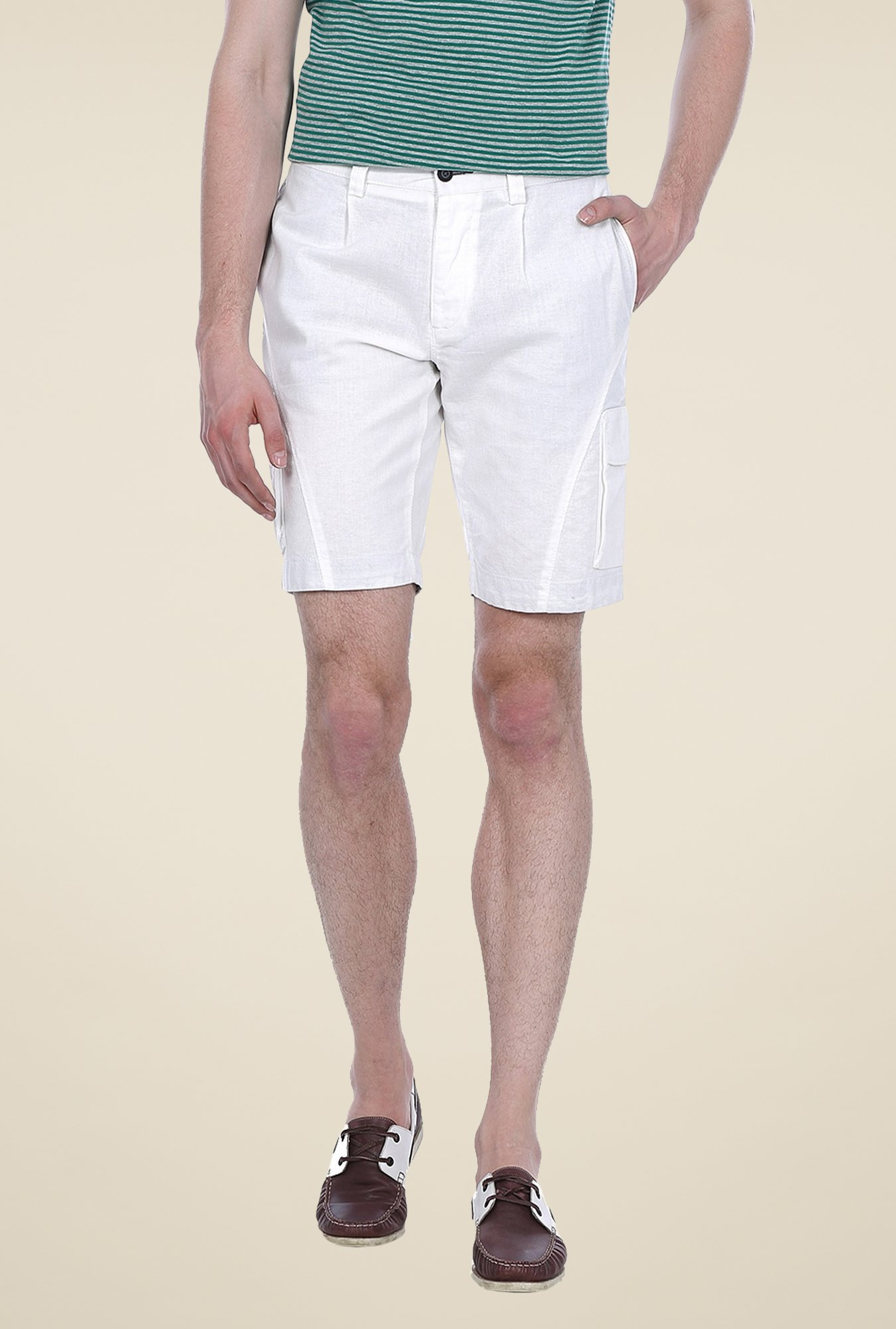 Basics White Solid Shorts